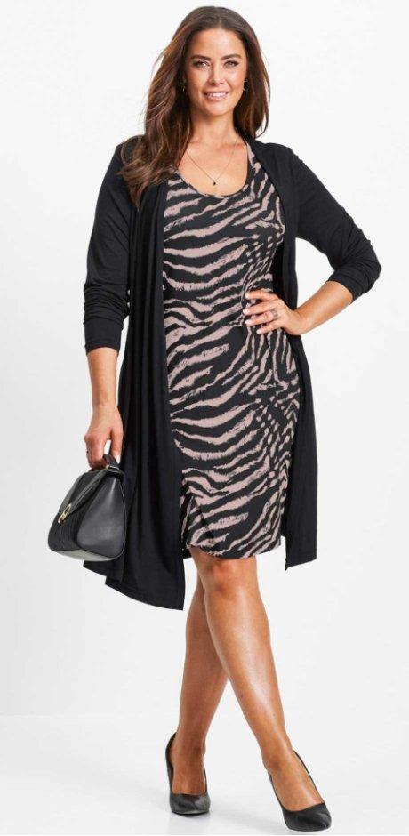 Žena - Úpletové šaty v dvouvrstvém vzhledu - černo-matně růžová s potiskem 081d801905