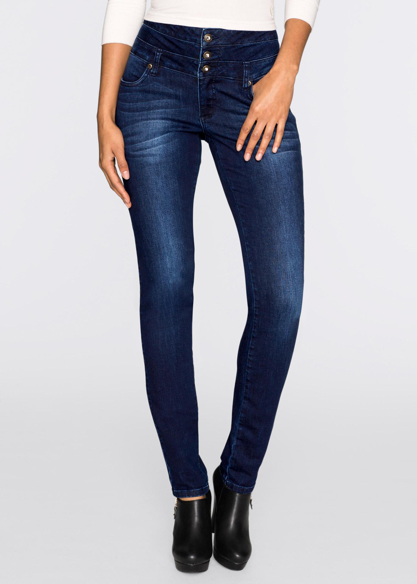Skinny džíny High Waist, s dlouhou knoflíkovou légou - Modrá