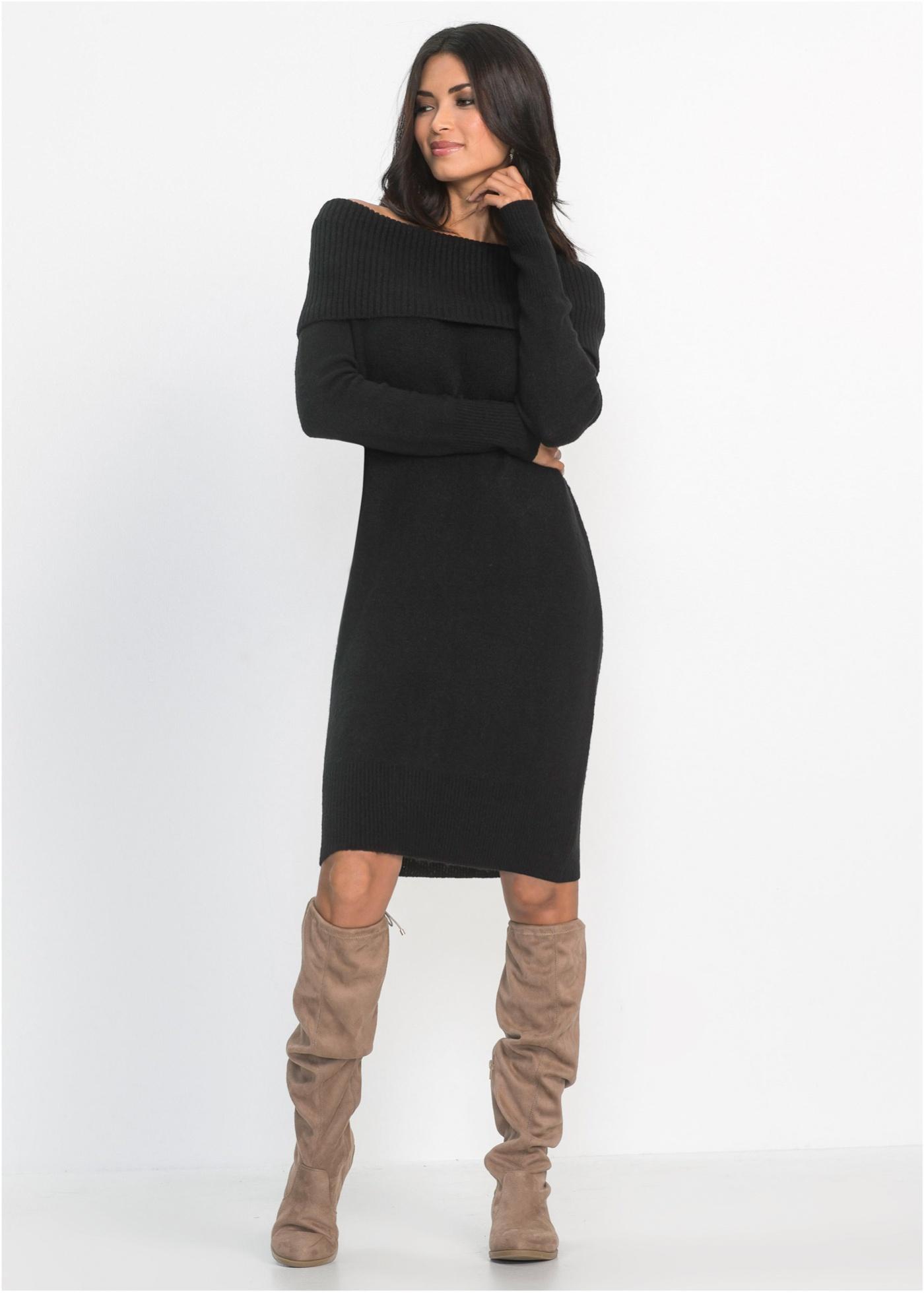 Pletené šaty s odhalenými rameny - Černá