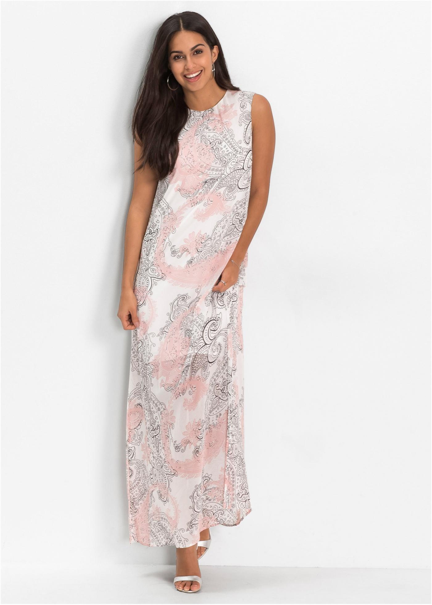 Dlouhé letní šaty ze šifónu - Bílá