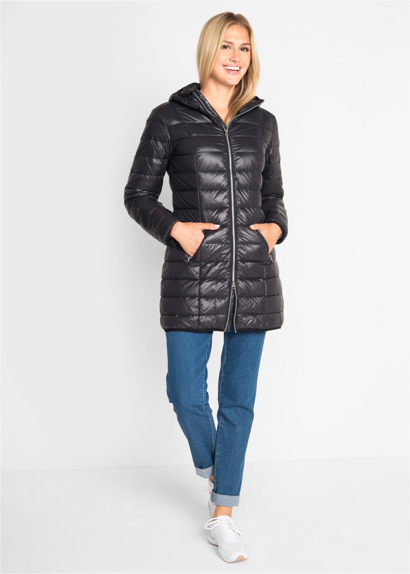 Velmi lehký péřový kabát - Černá