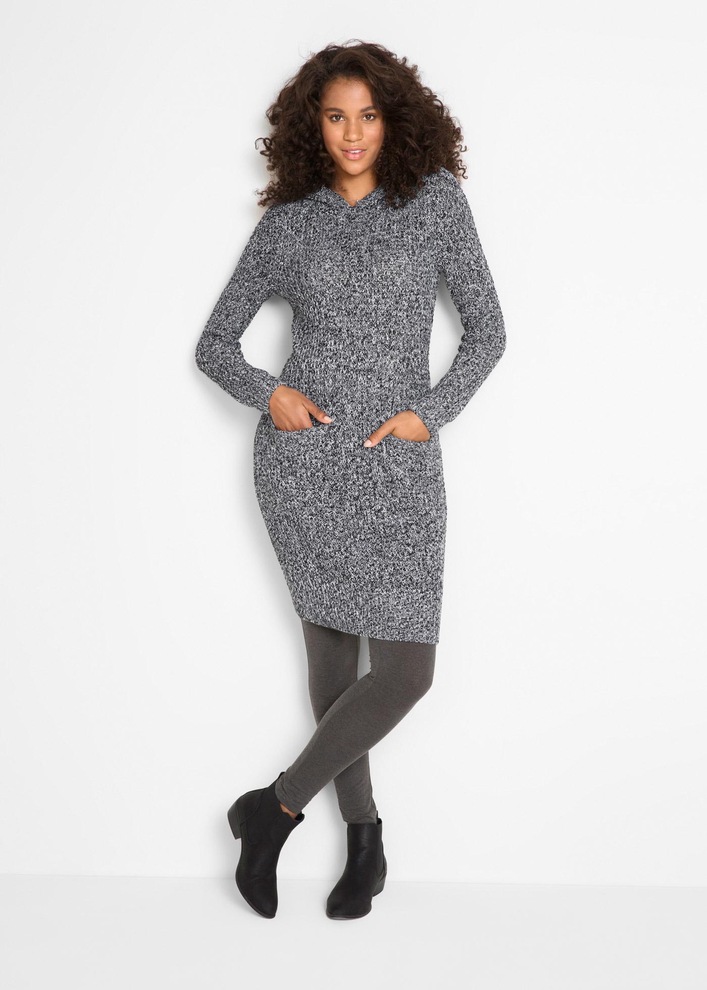 Pletené šaty s kapucí - Černá