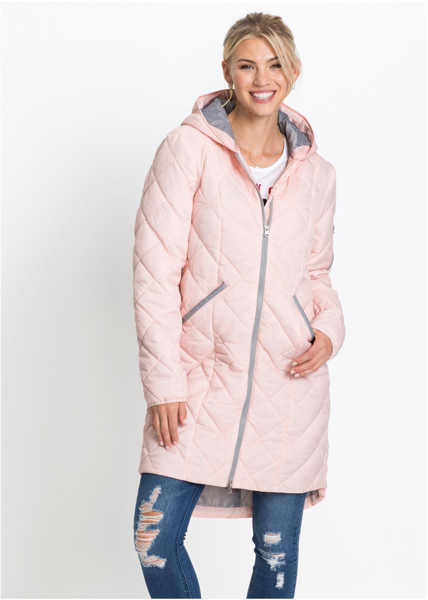 Prošívaný kabát, dvoubarevný - Růžová