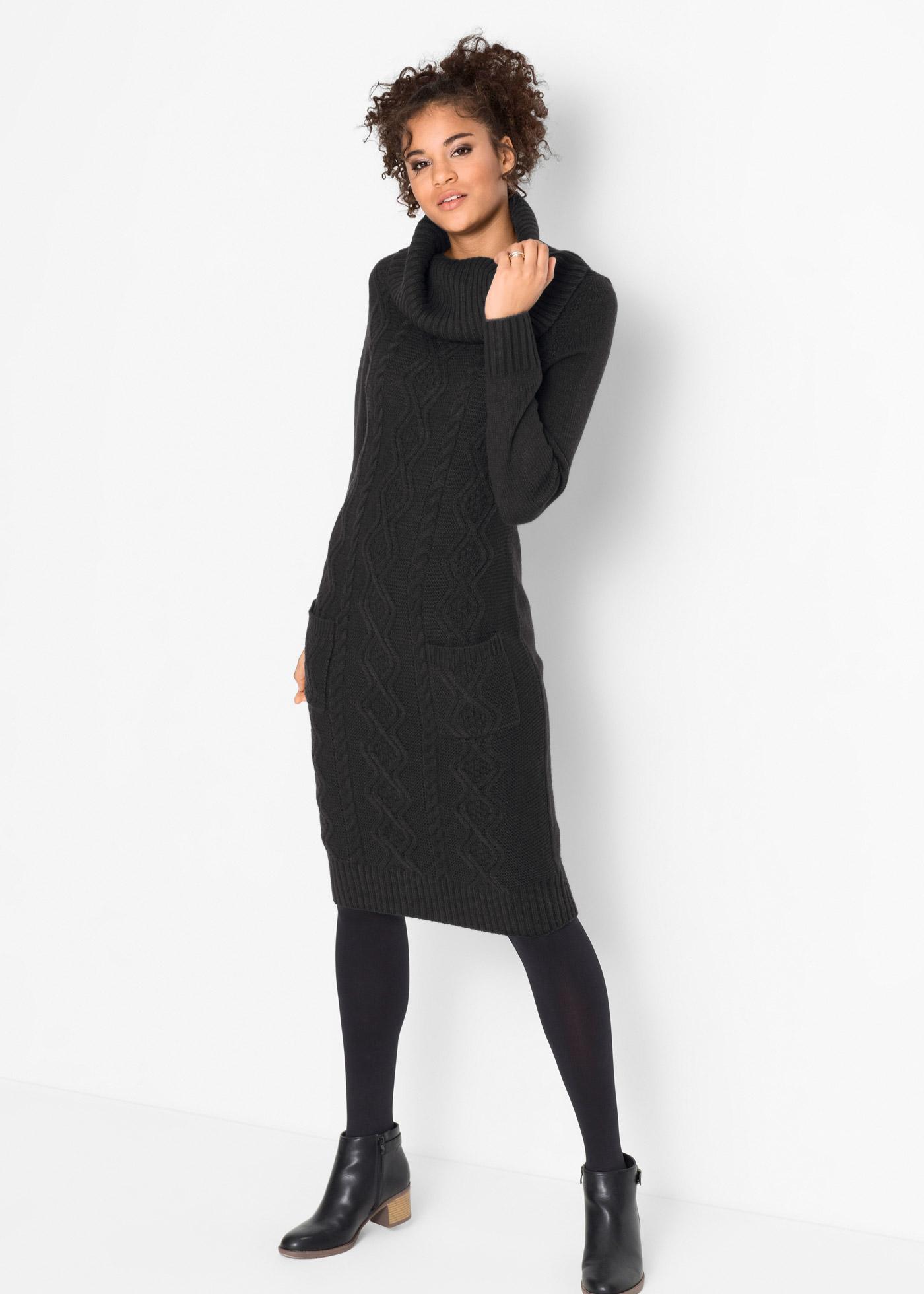 Pletené šaty s kapsami - Černá