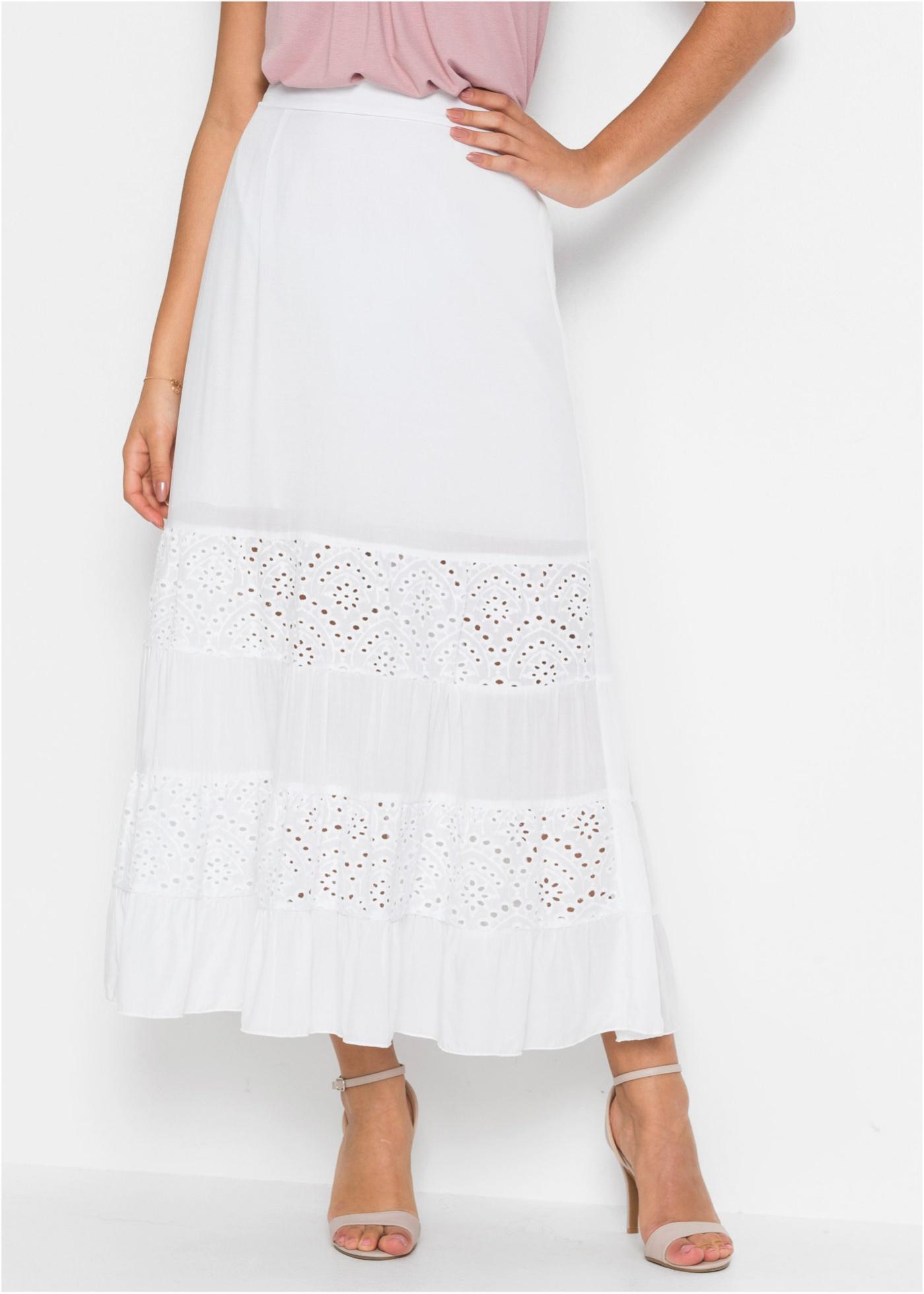 Dlouhá sukně s krajkovými vsadkami - Bílá