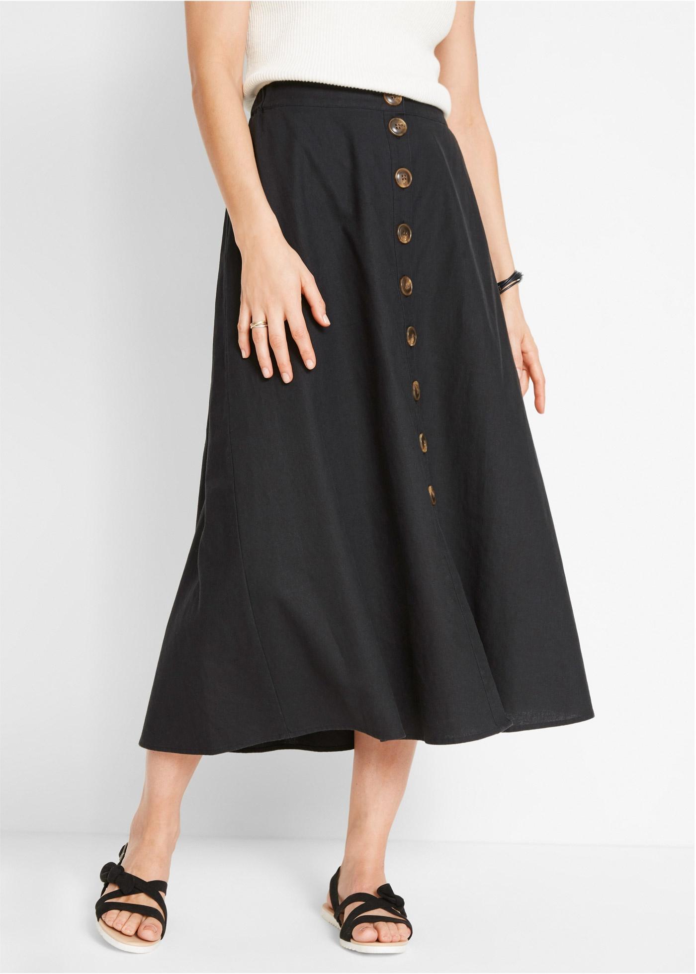 Propínací dlouhá sukně ze lnu - Černá