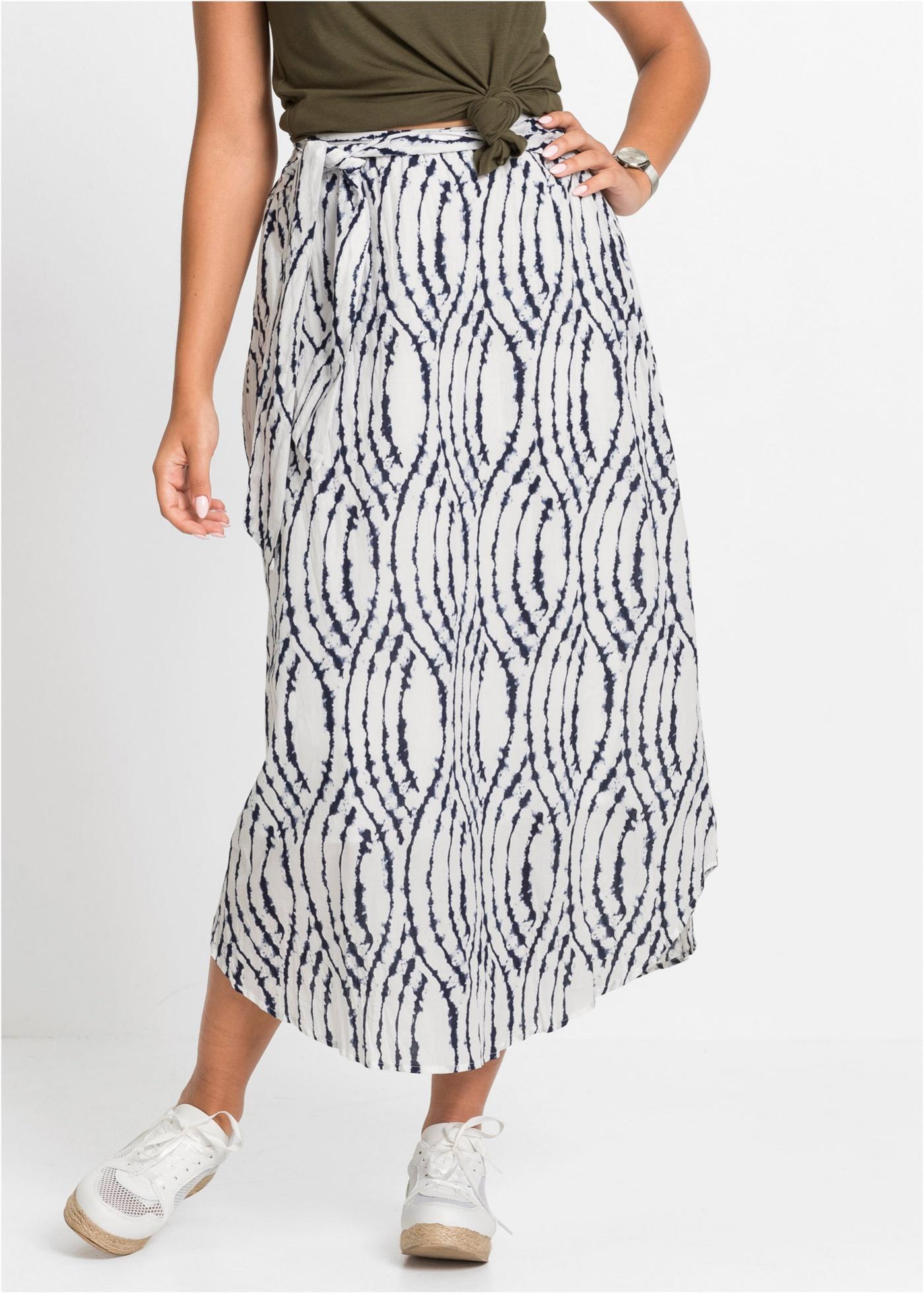 Dlouhá sukně s batikovaným vzorem - Bílá