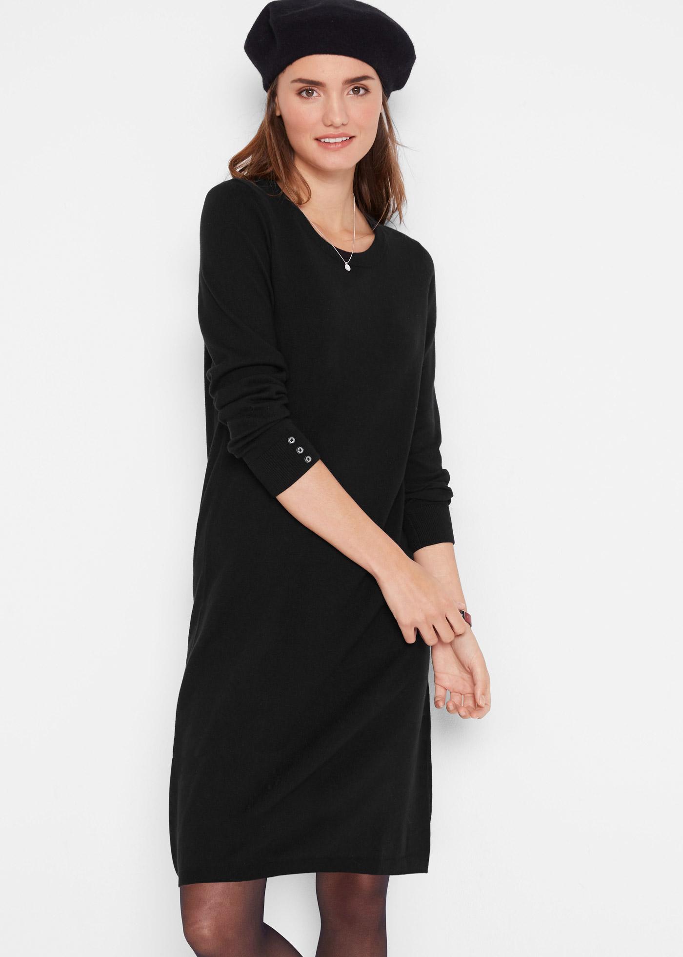 Pletené šaty s knoflíky - Černá
