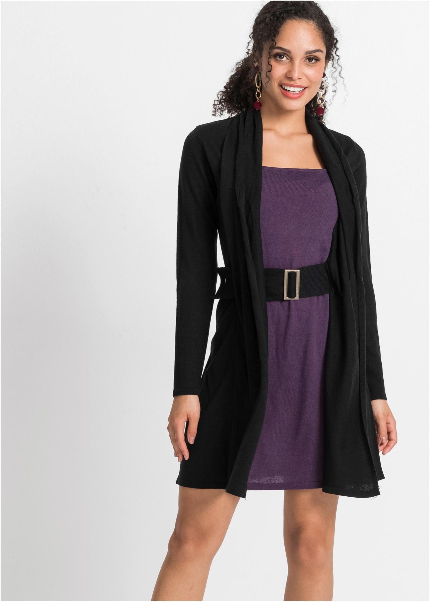 Pletené šaty s páskem - Černá