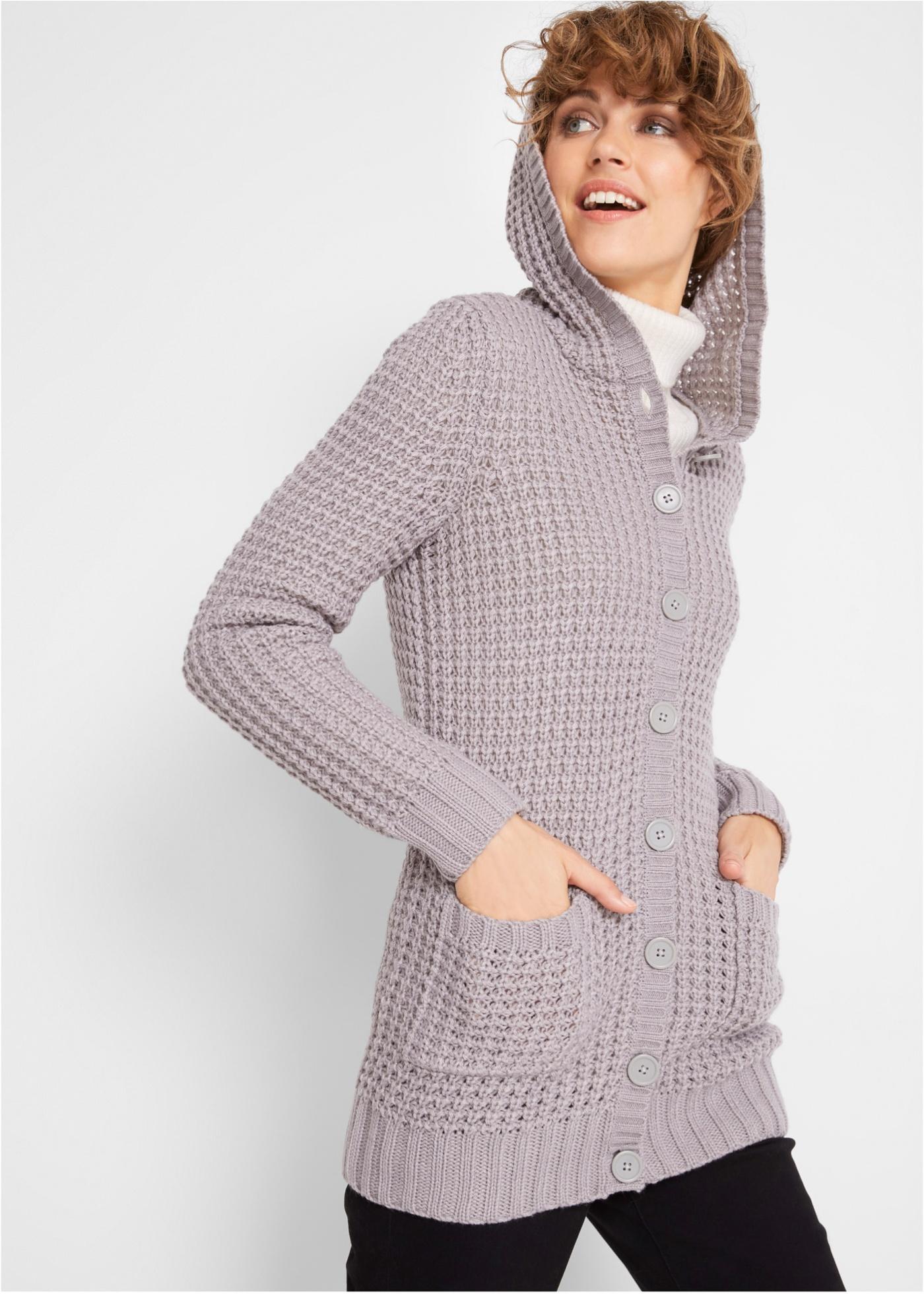 Pletený kabátek s kapucí - Šedá