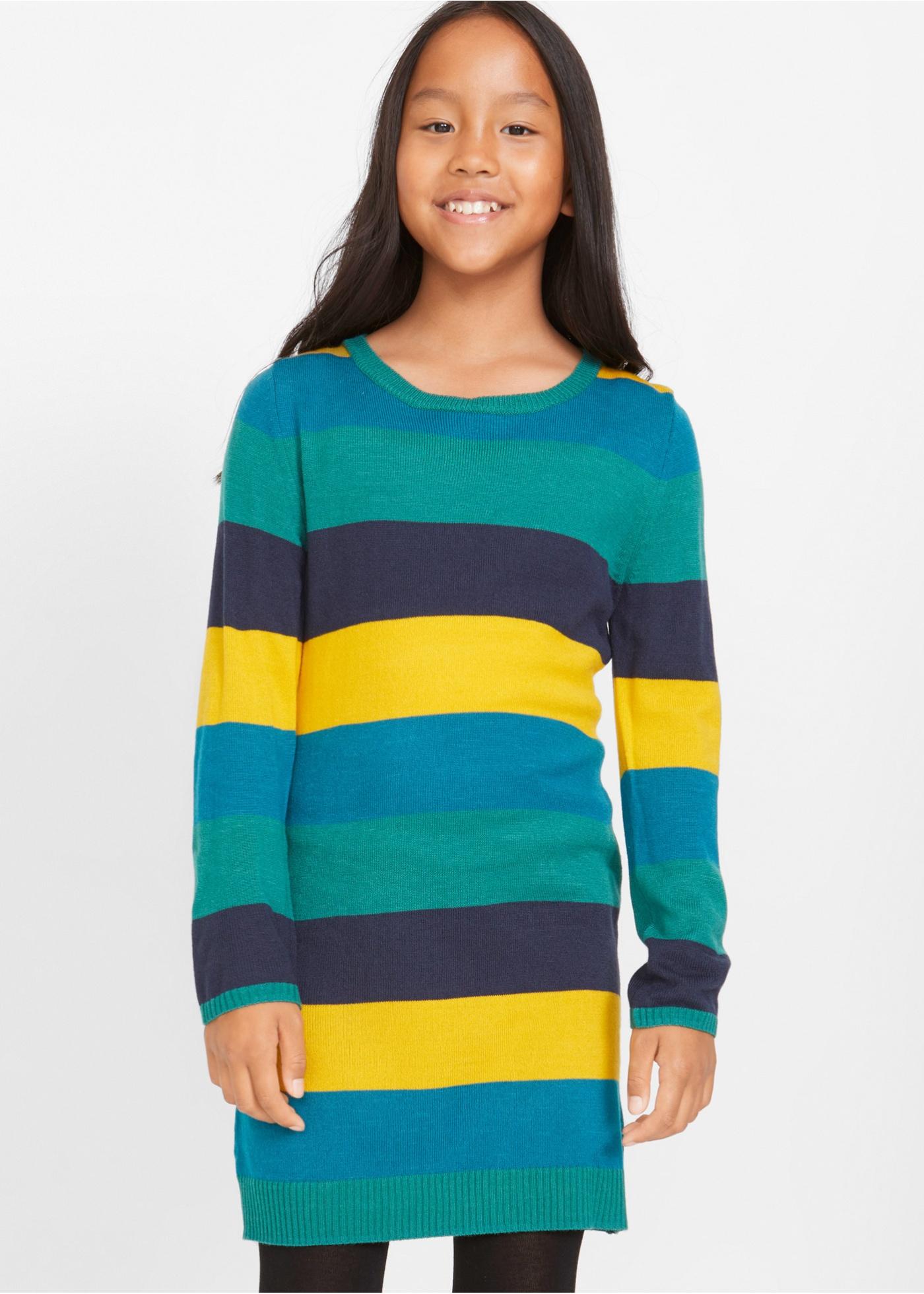 Dívčí pletené šaty s širokými pruhy - Modrá