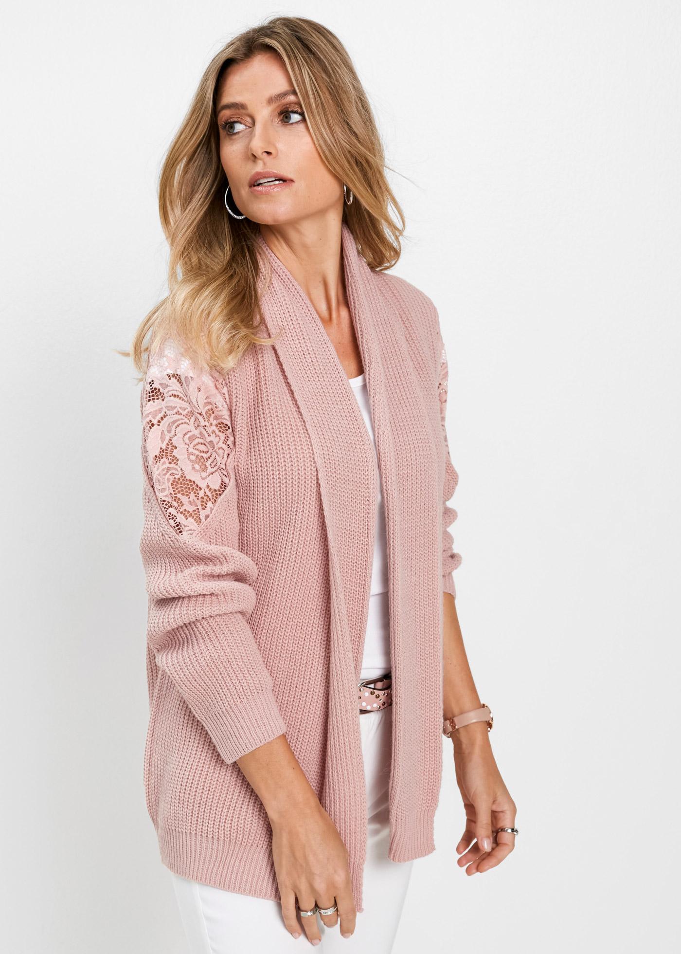Pletený kabátek s krajkou - Růžová