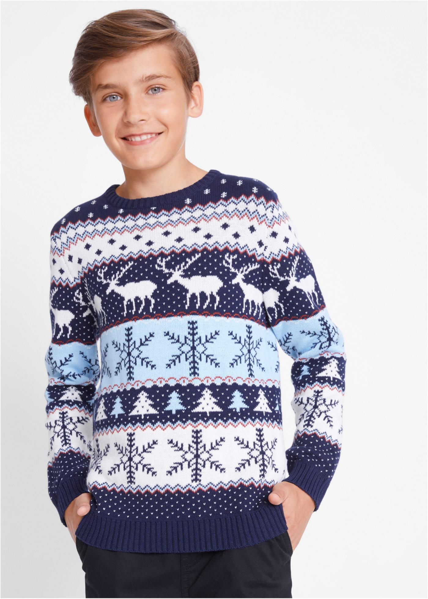 Chlapecký svetr se sobem - Modrá