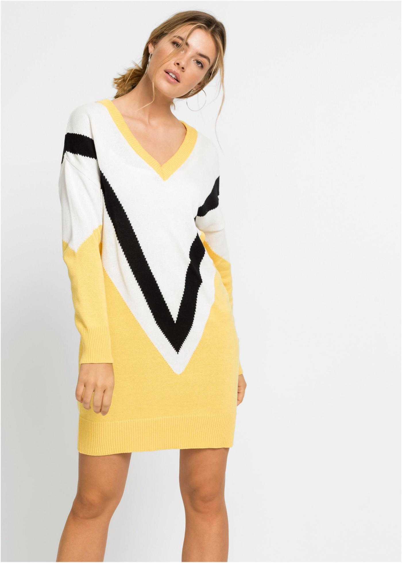 Pletené šaty, oversized - Žlutá