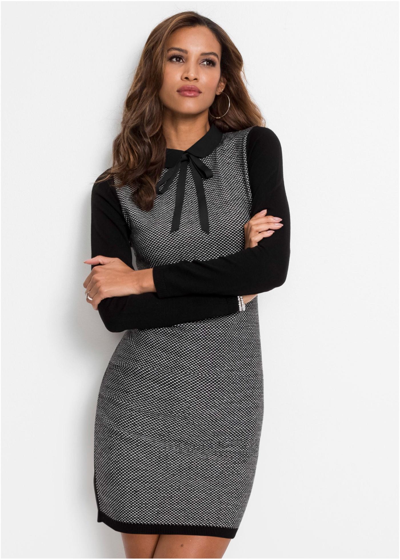 Pletené šaty s mašlí - Černá