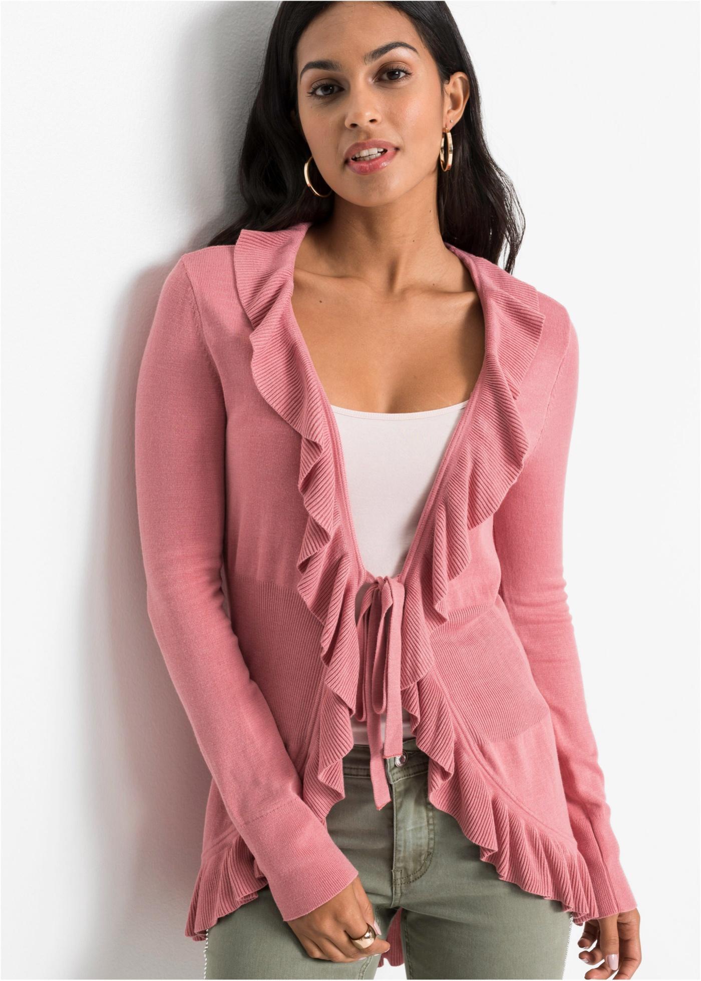 Pletený kabátek s volány - Růžová