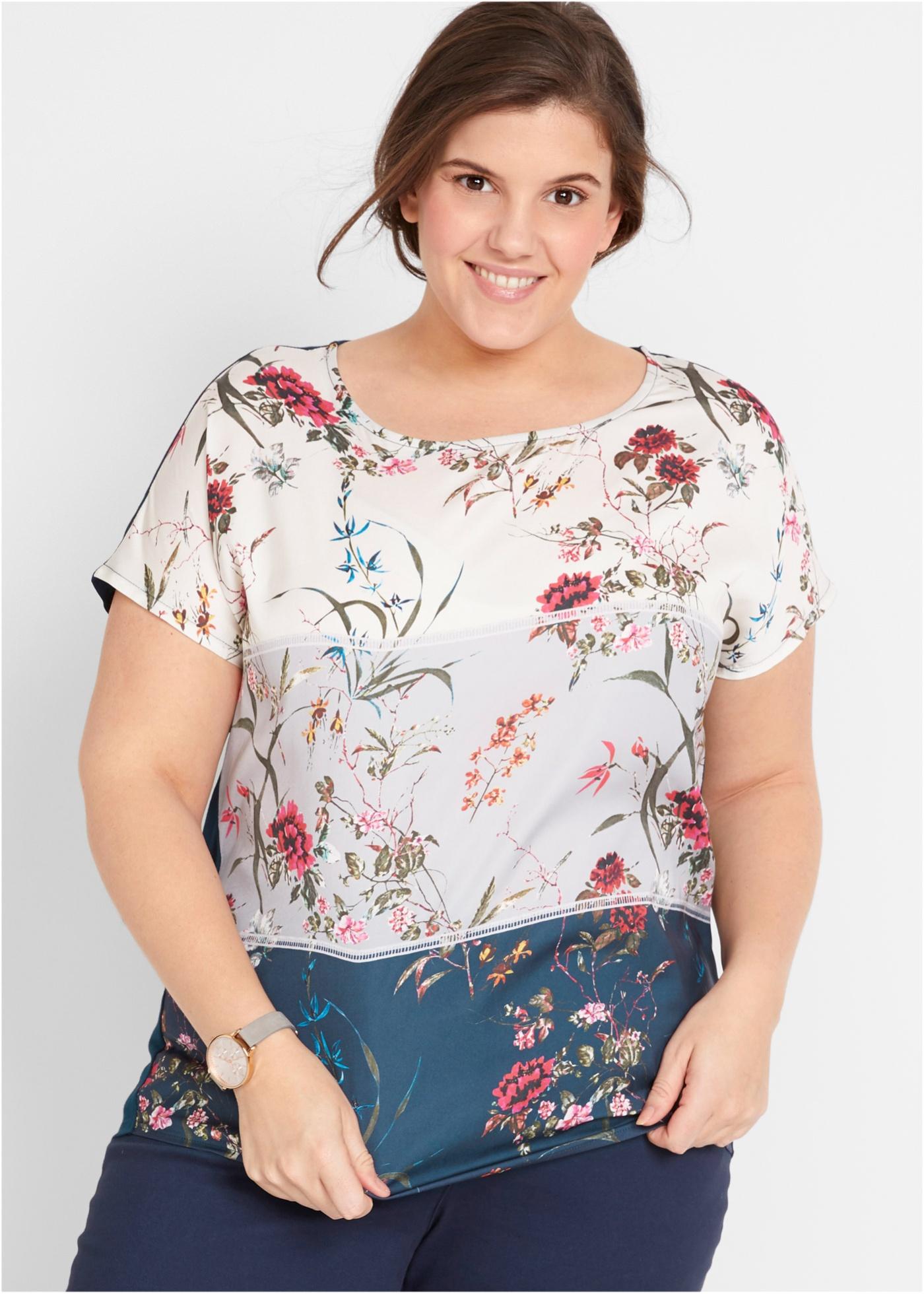 Tričko s květinovým potiskem a netopýřími rukávy - Bílá