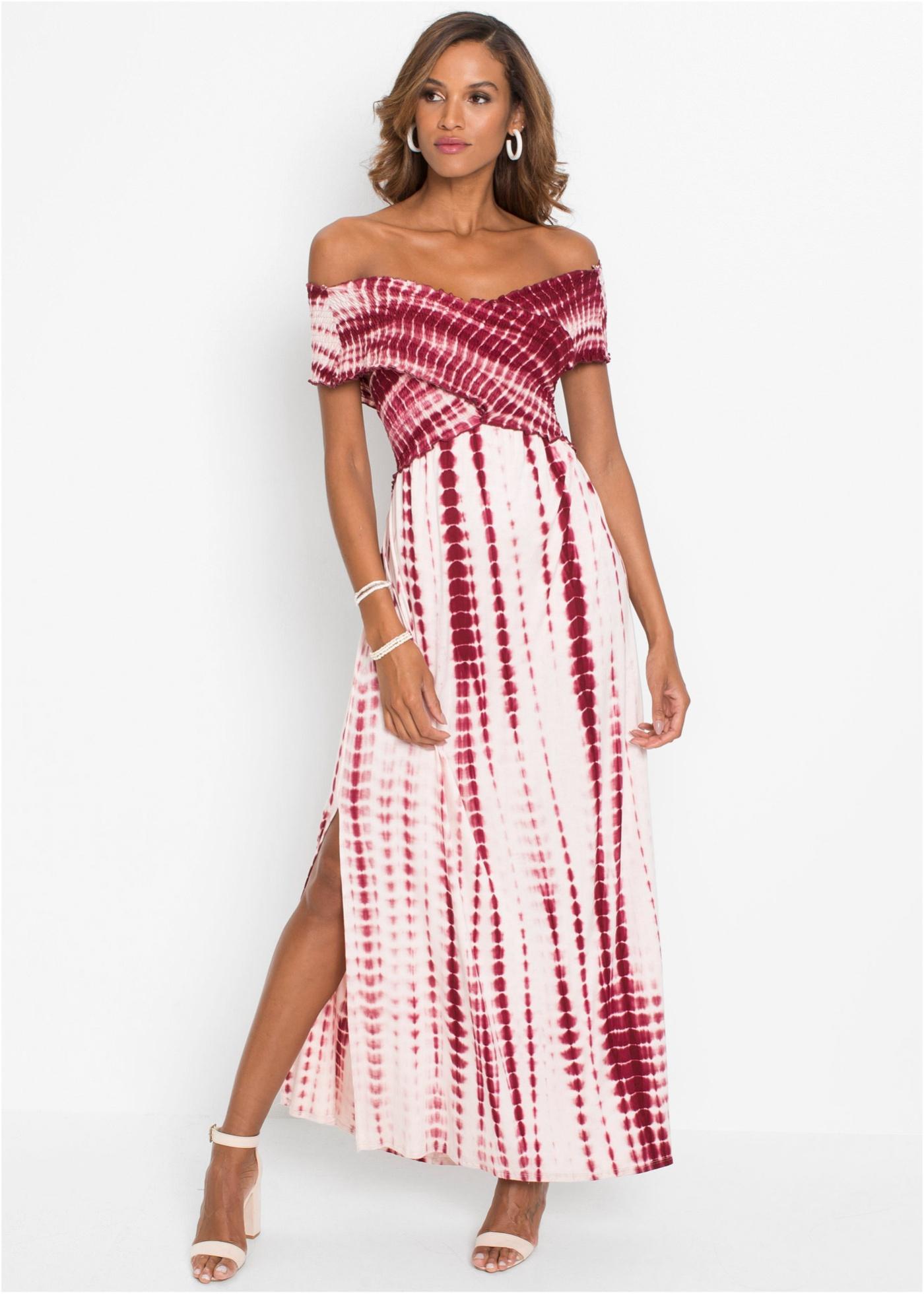 Dlouhé batikované šaty - Bílá