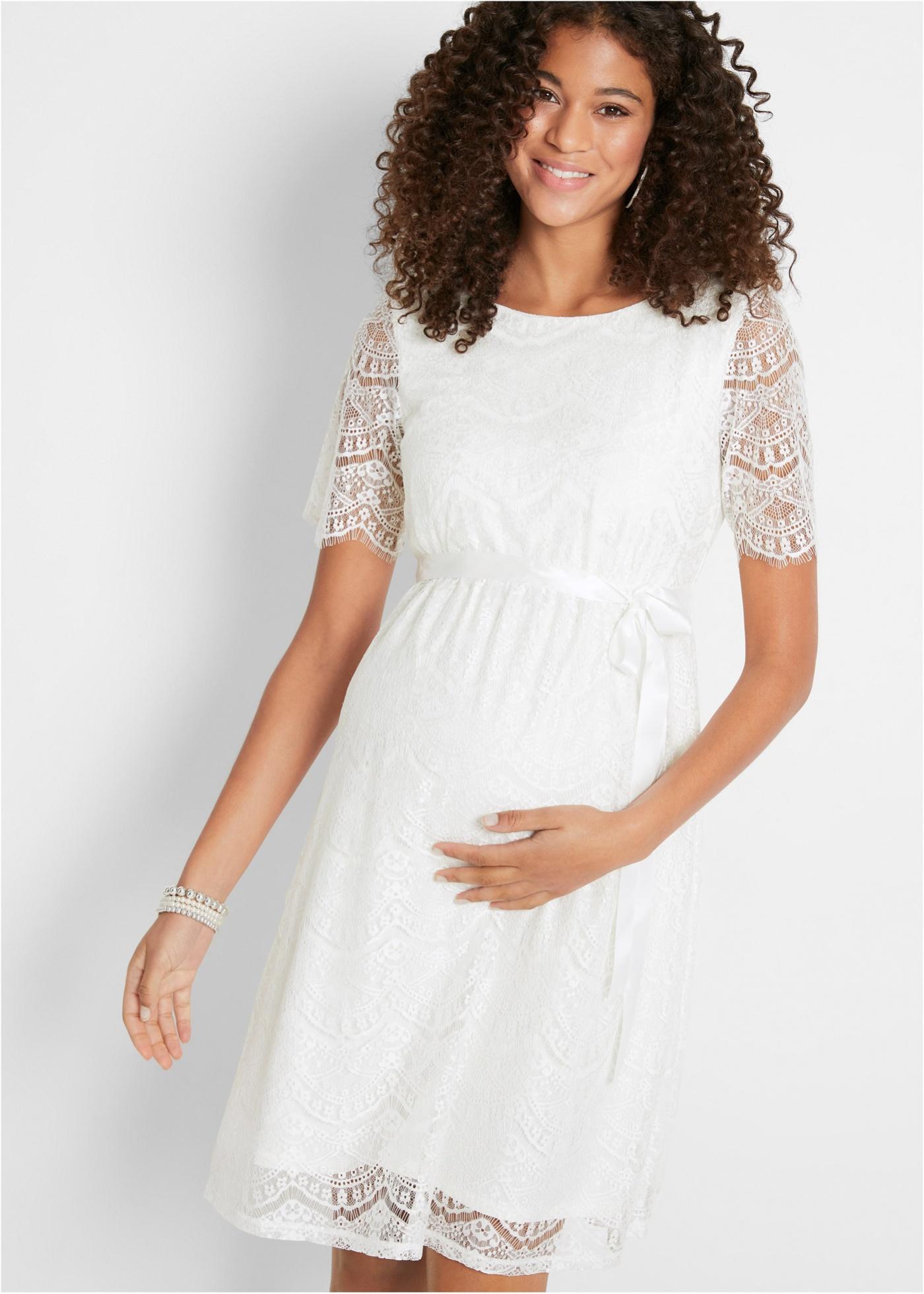 Těhotenské svatební šaty - Bílá