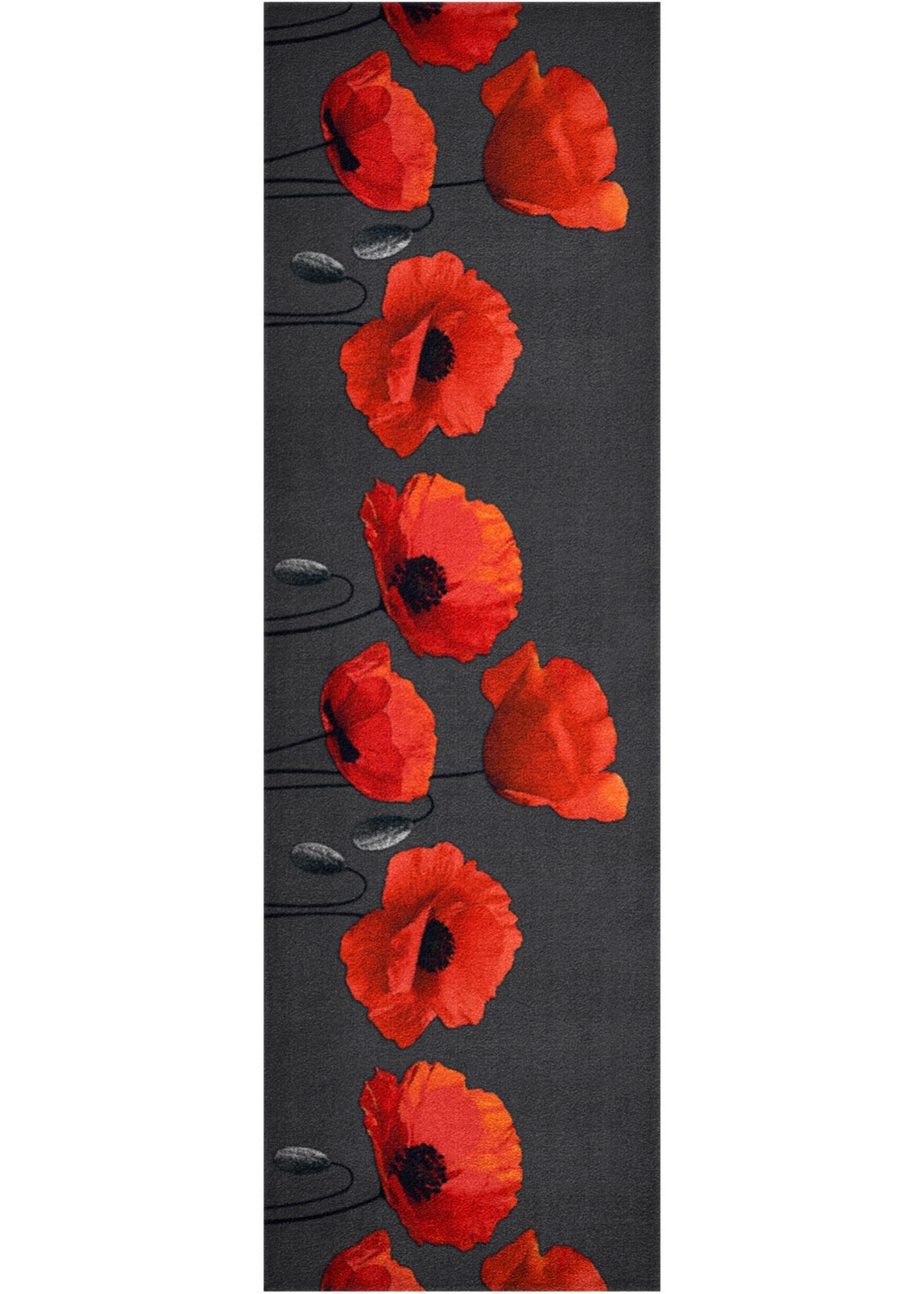 Rohožka s motivem květin - Červená