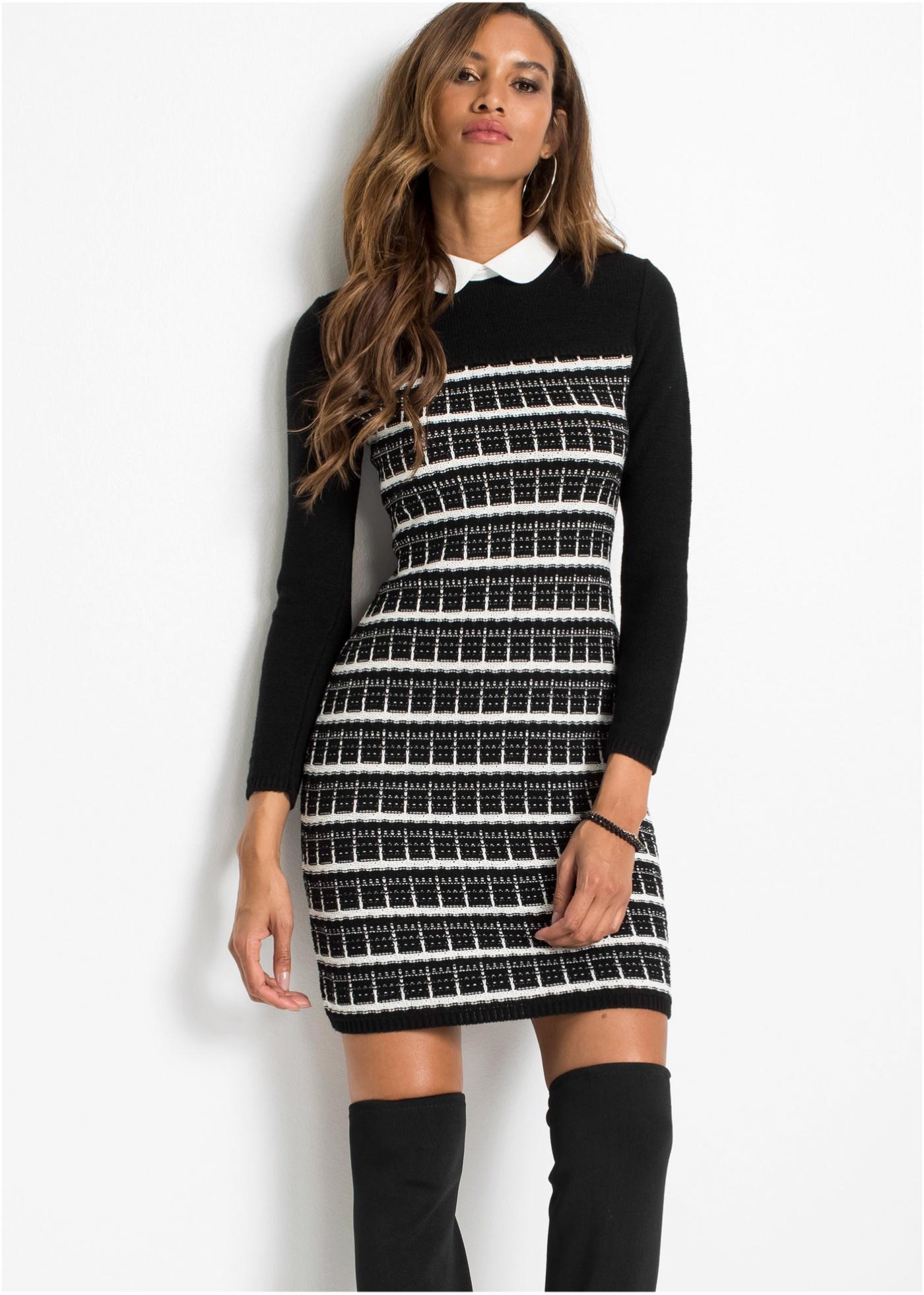 Pletené šaty s límcem - Černá