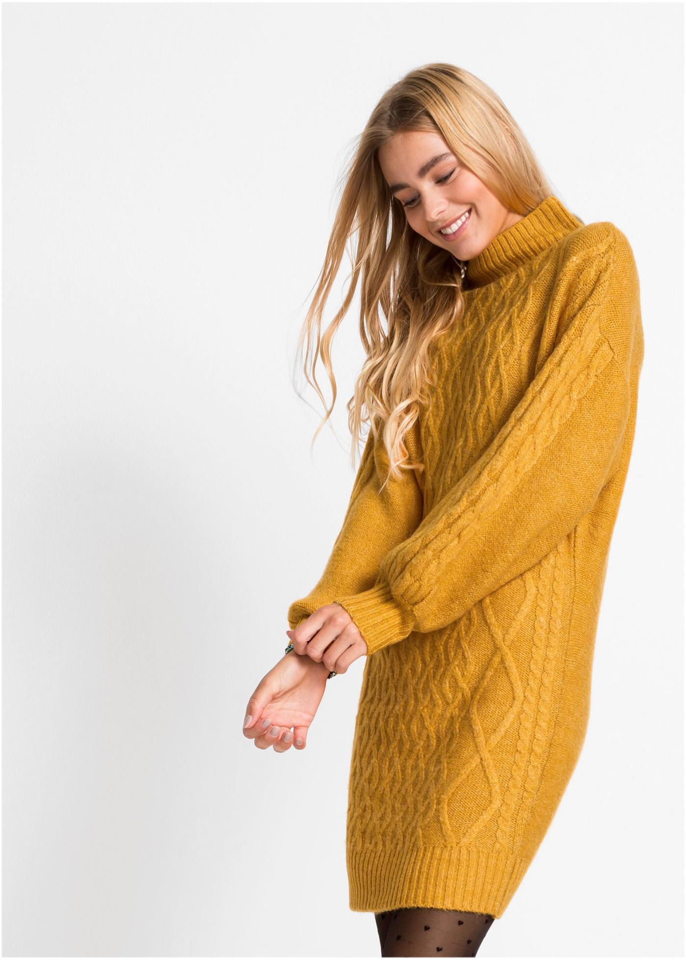Pletené šaty - Oranžová