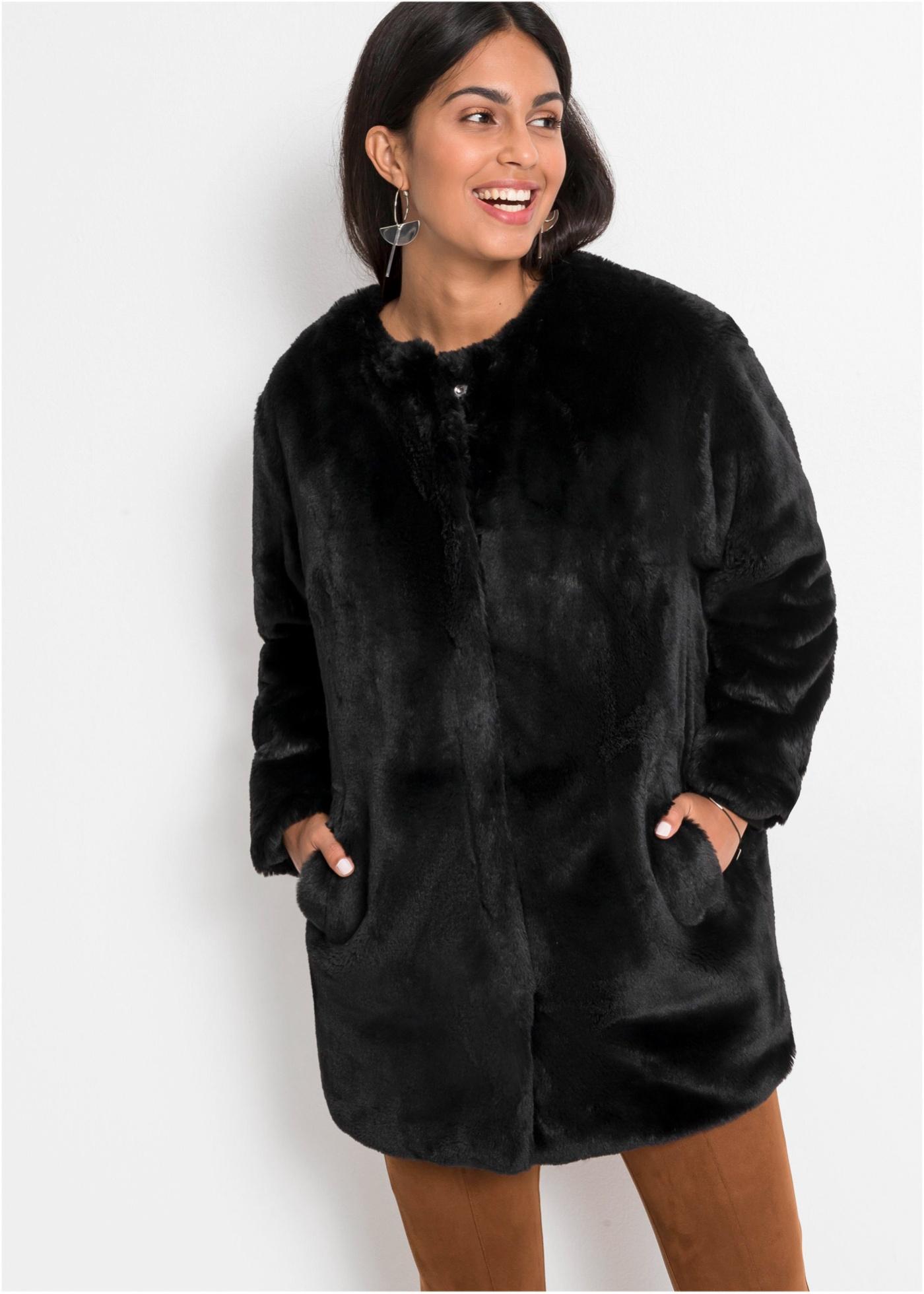 Kabát z umělé kožešiny - Černá
