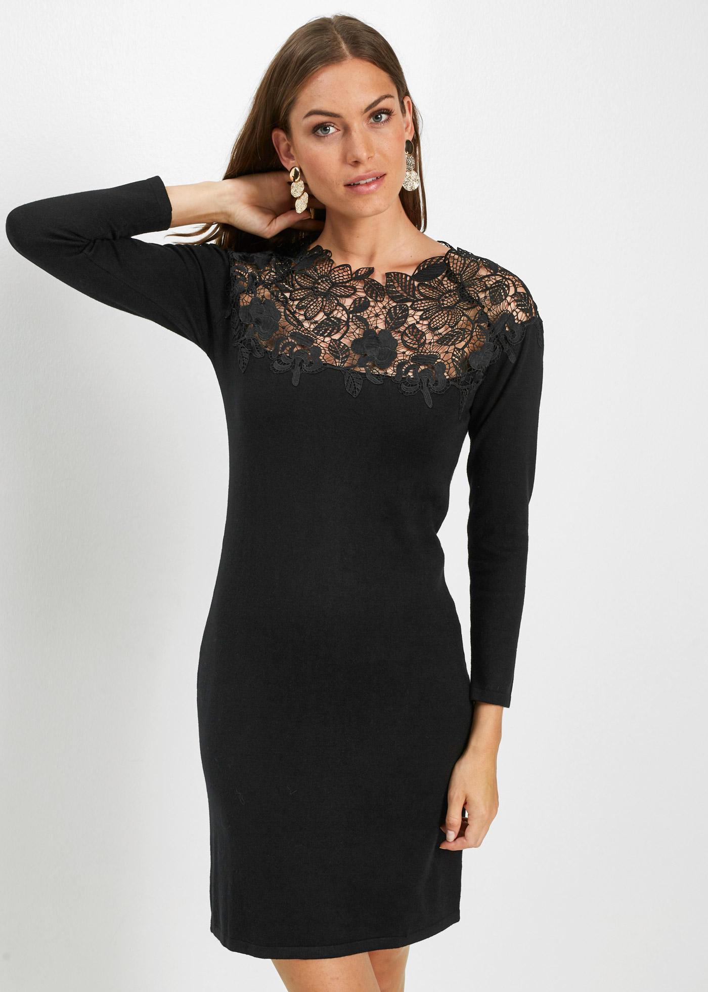 Pletené šaty s krajkou - Černá