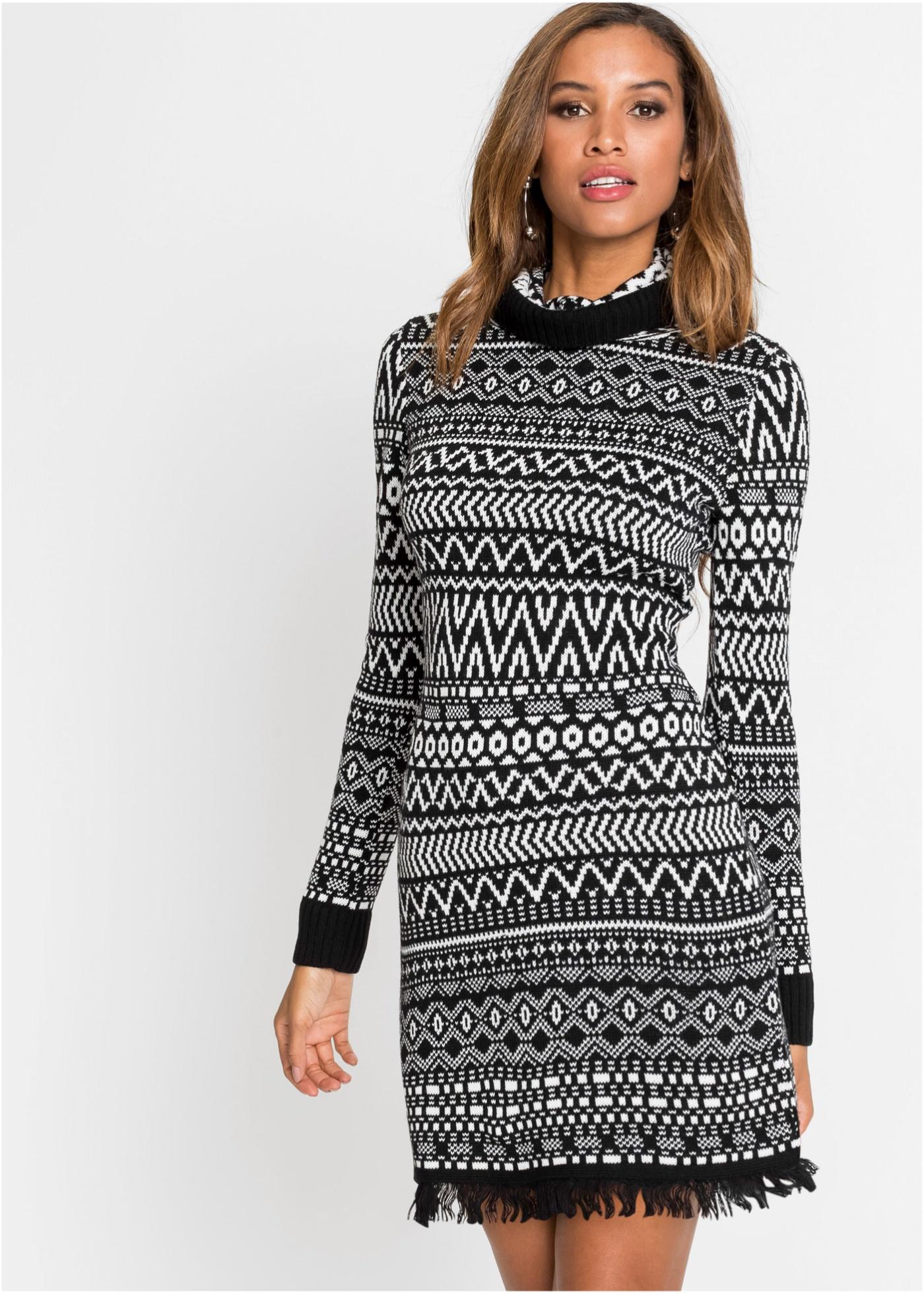 Pletené šaty s třásněmi - Černá