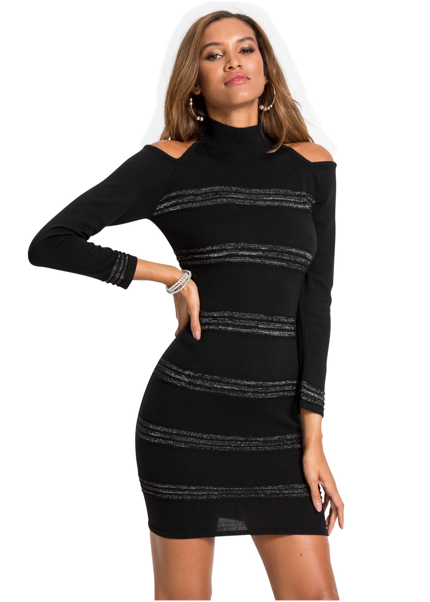 Pletené šaty se třpytkami - Černá