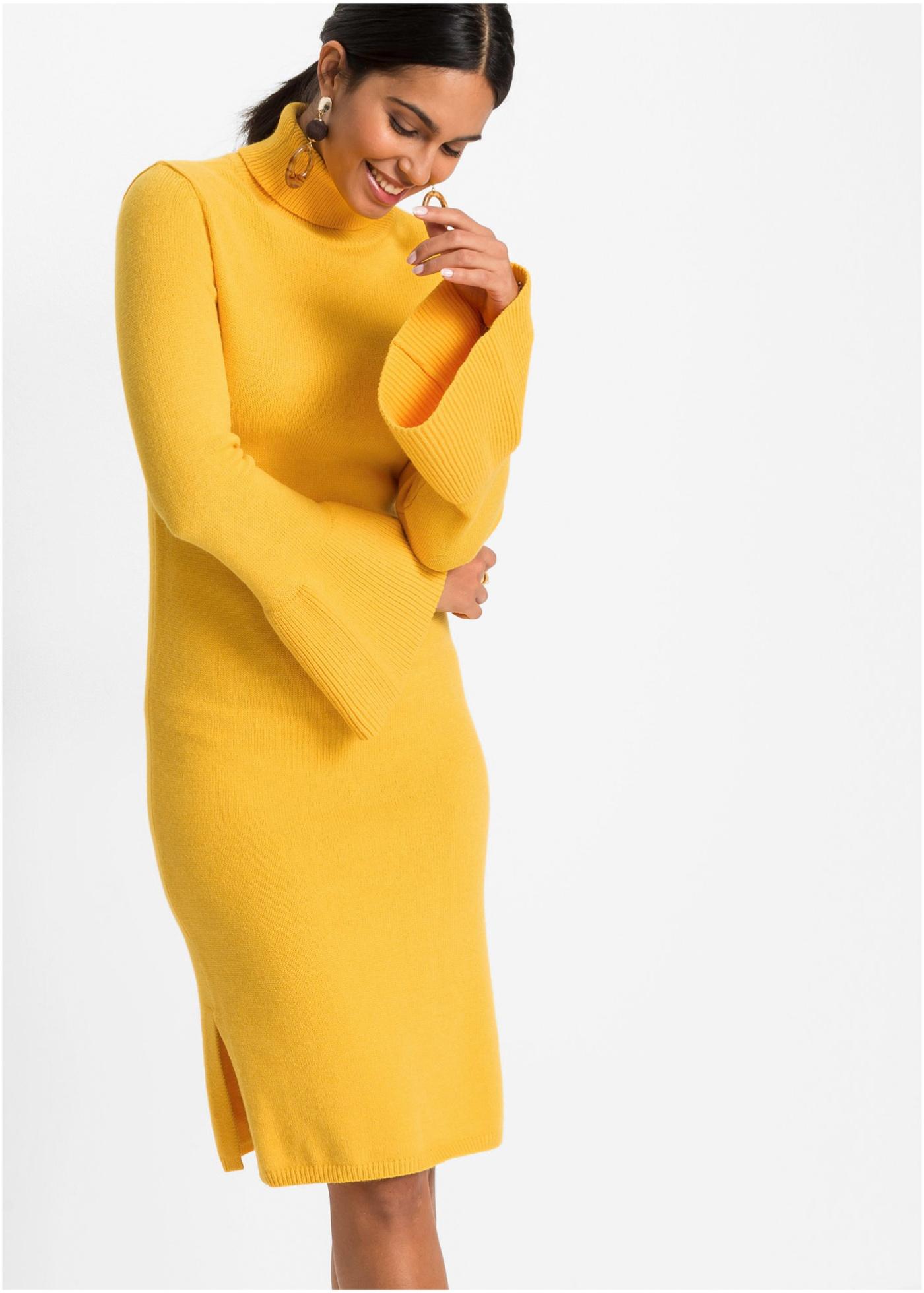 Pletené šaty - Žlutá