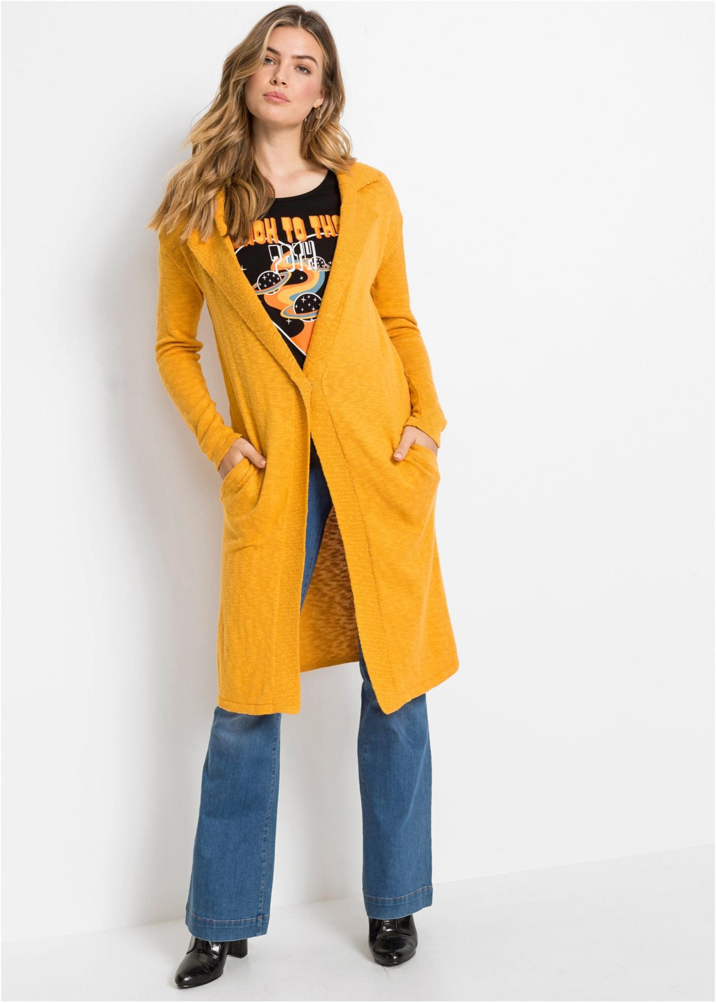 Dlouhý pletený kabátek s knoflíkem - Oranžová