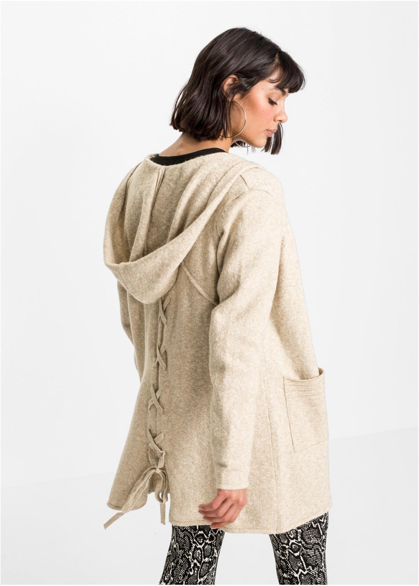 Pletený kabátek s kapucí - Béžová