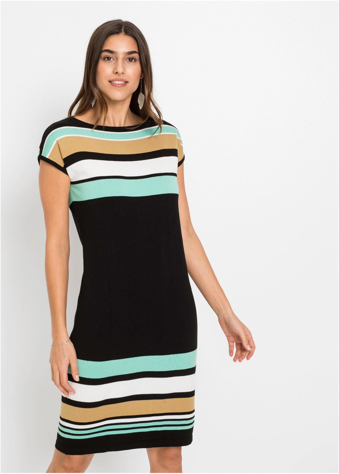 Pletené šaty s proužky - Černá