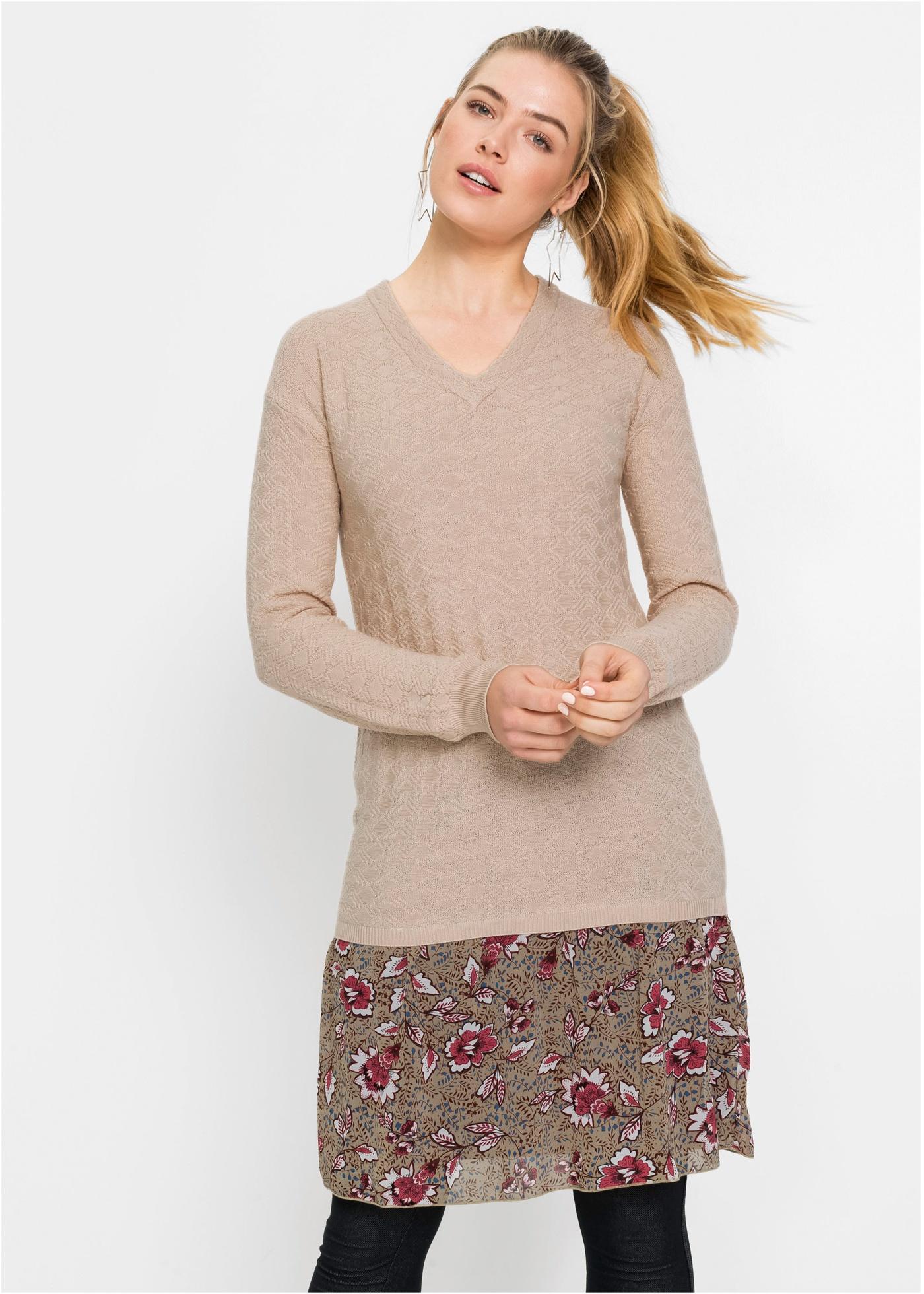Pletené šaty - Béžová