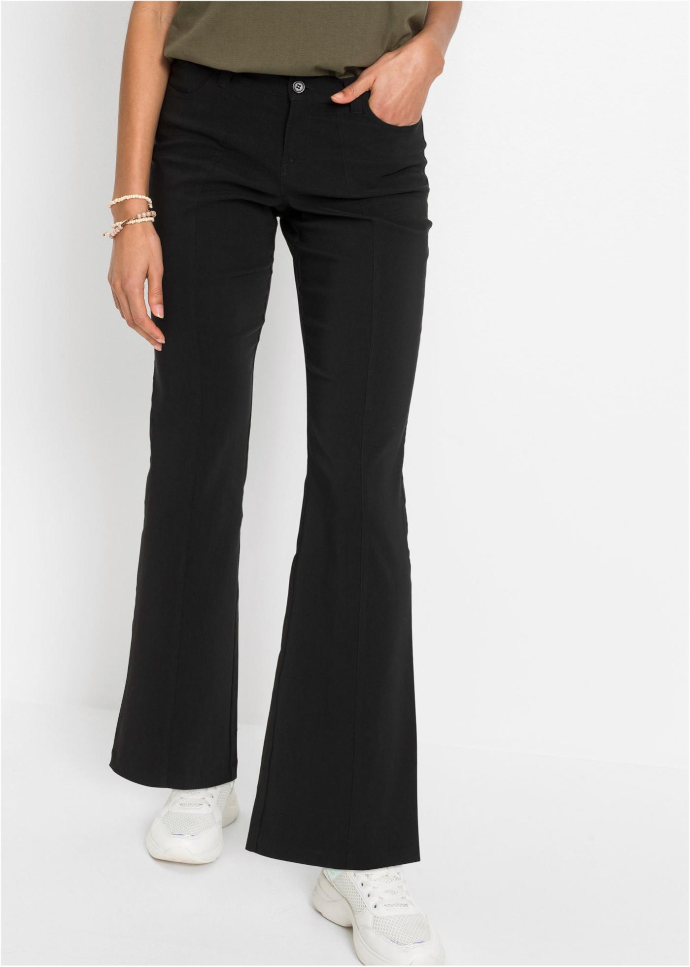 Strečové kalhoty do zvonu - Černá