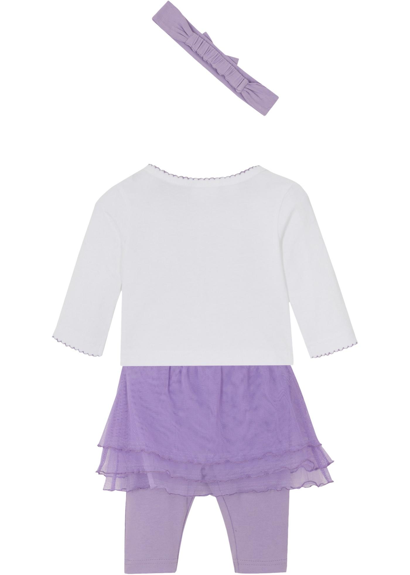Kojenecké triko, legíny, tylová sukně, čelenka (4dílná souprava) - Bílá