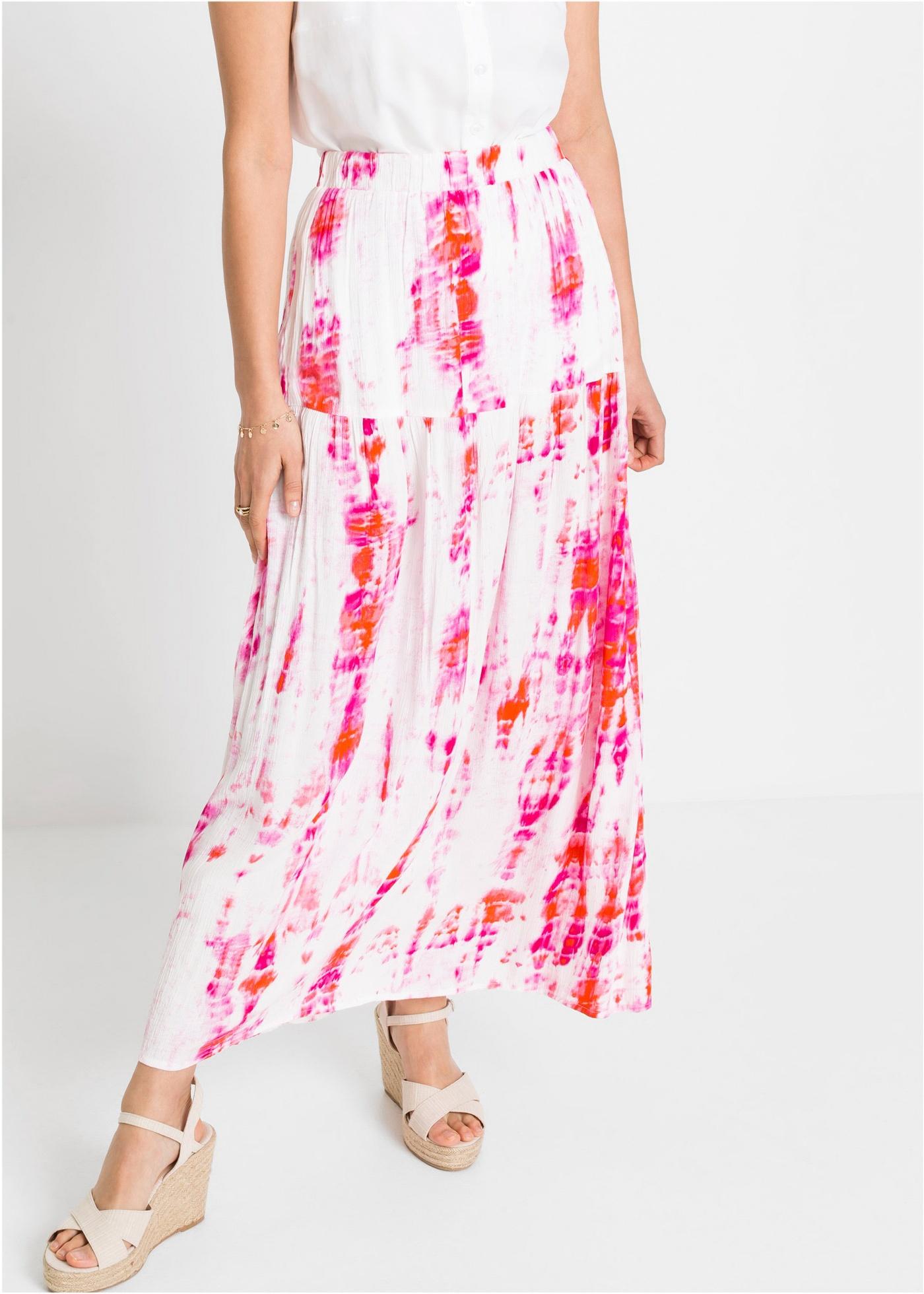 Dlouhá sukně s batikovaným efektem - Bílá