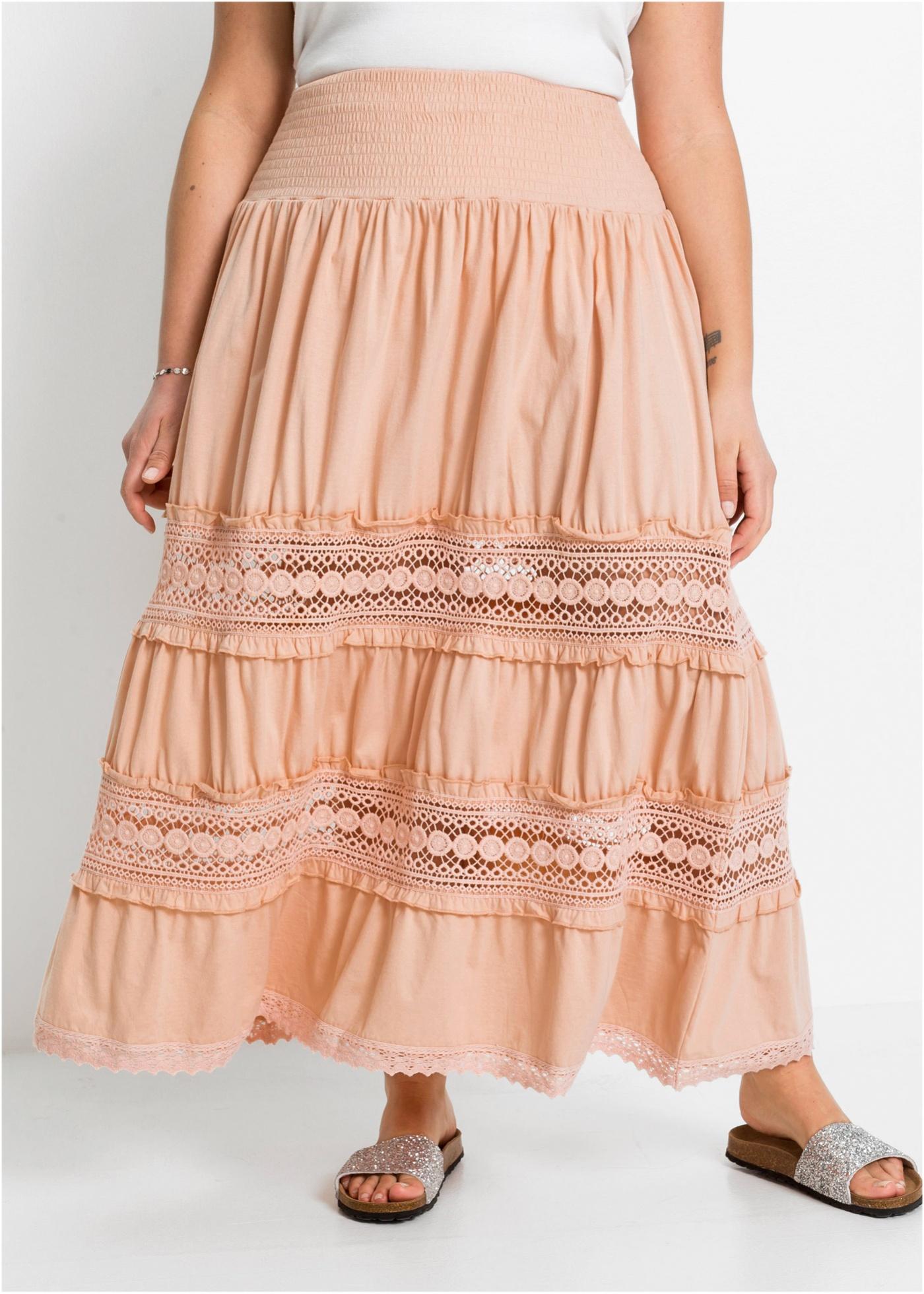 Dlouhá sukně s krajkou - Růžová
