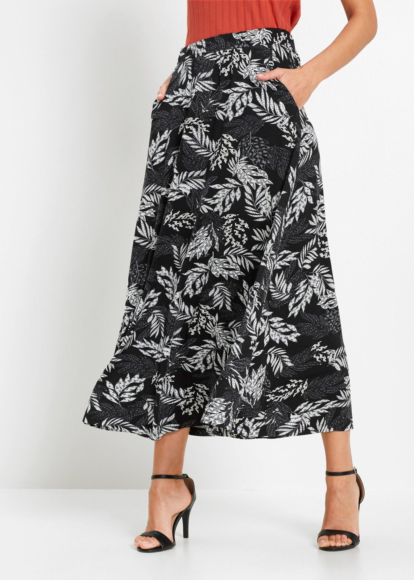 Dlouhá žerzejová sukně se sexy potiskem - Bílá