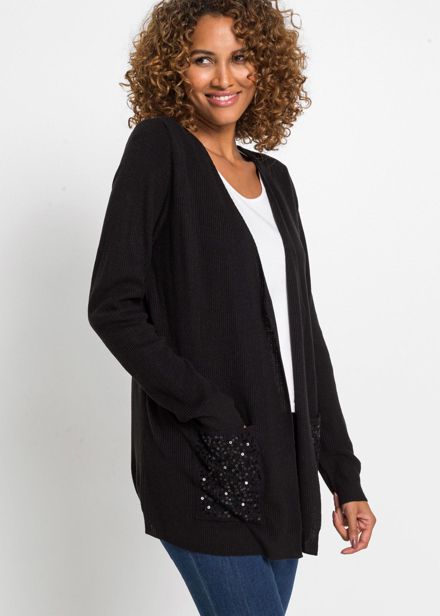 Dlouhý pletený kabátek s pajetkami - Černá