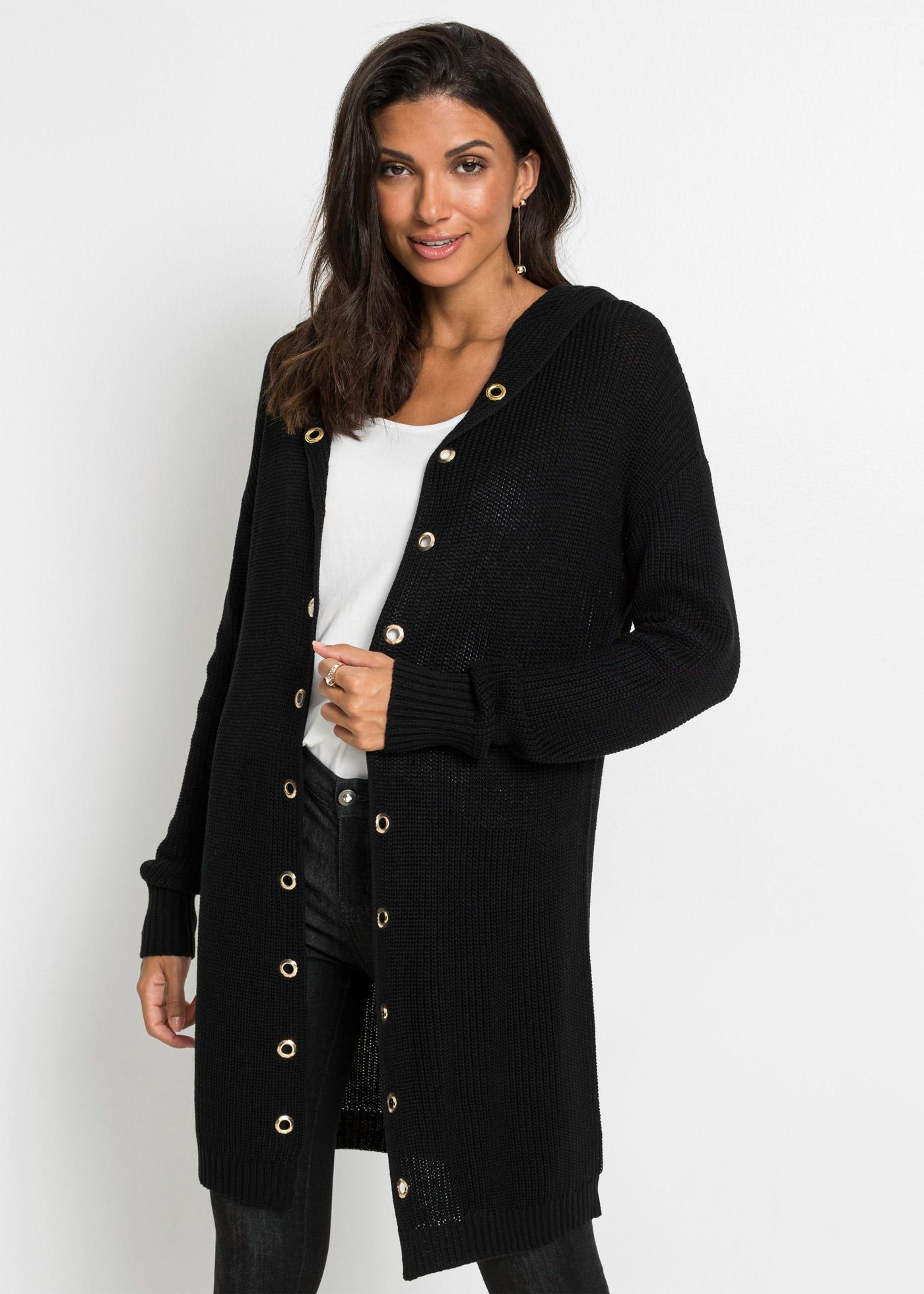 Dlouhý pletený kabátek s kapucí - Černá