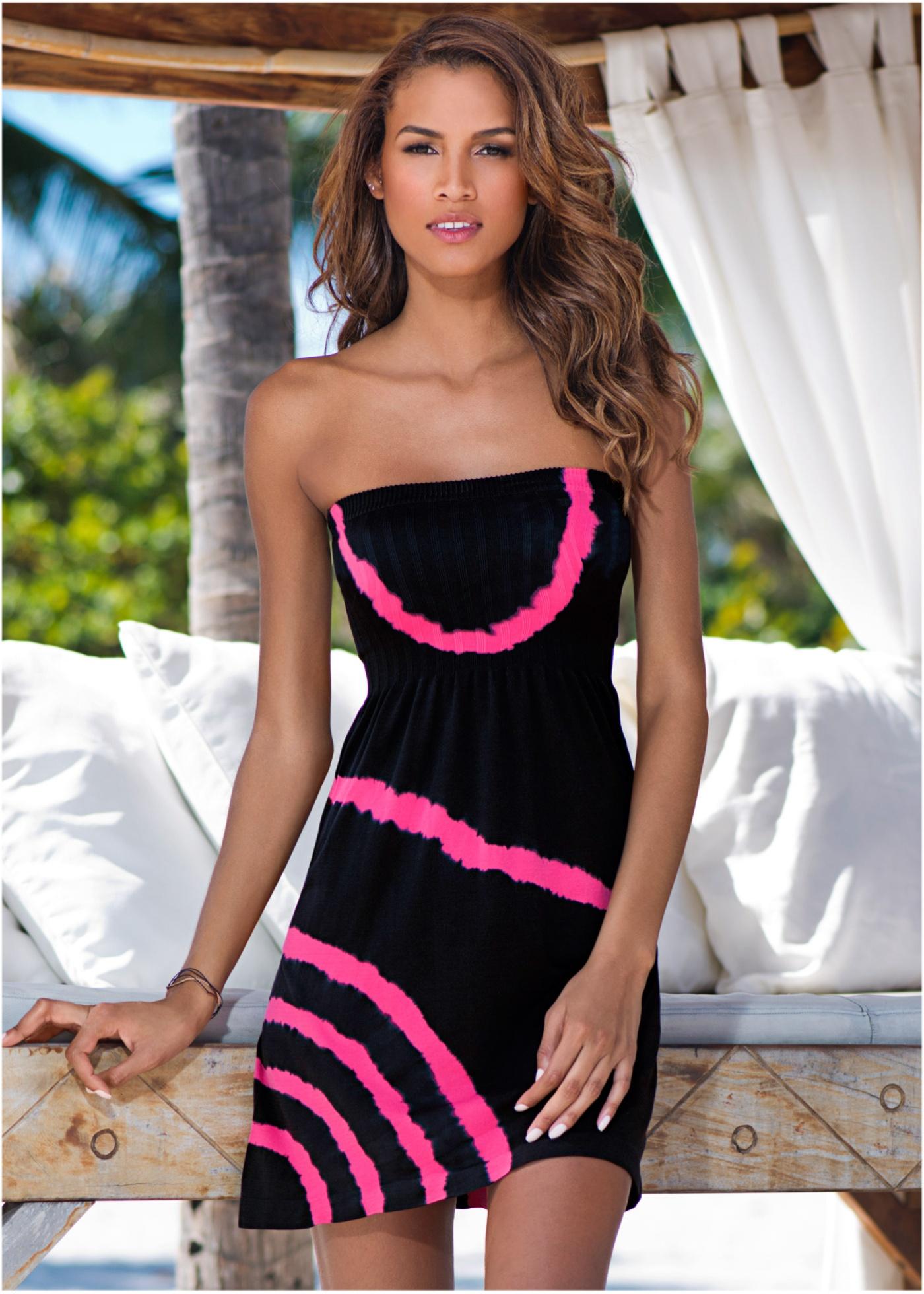 Plážové šaty bez ramínek, RAINBOW