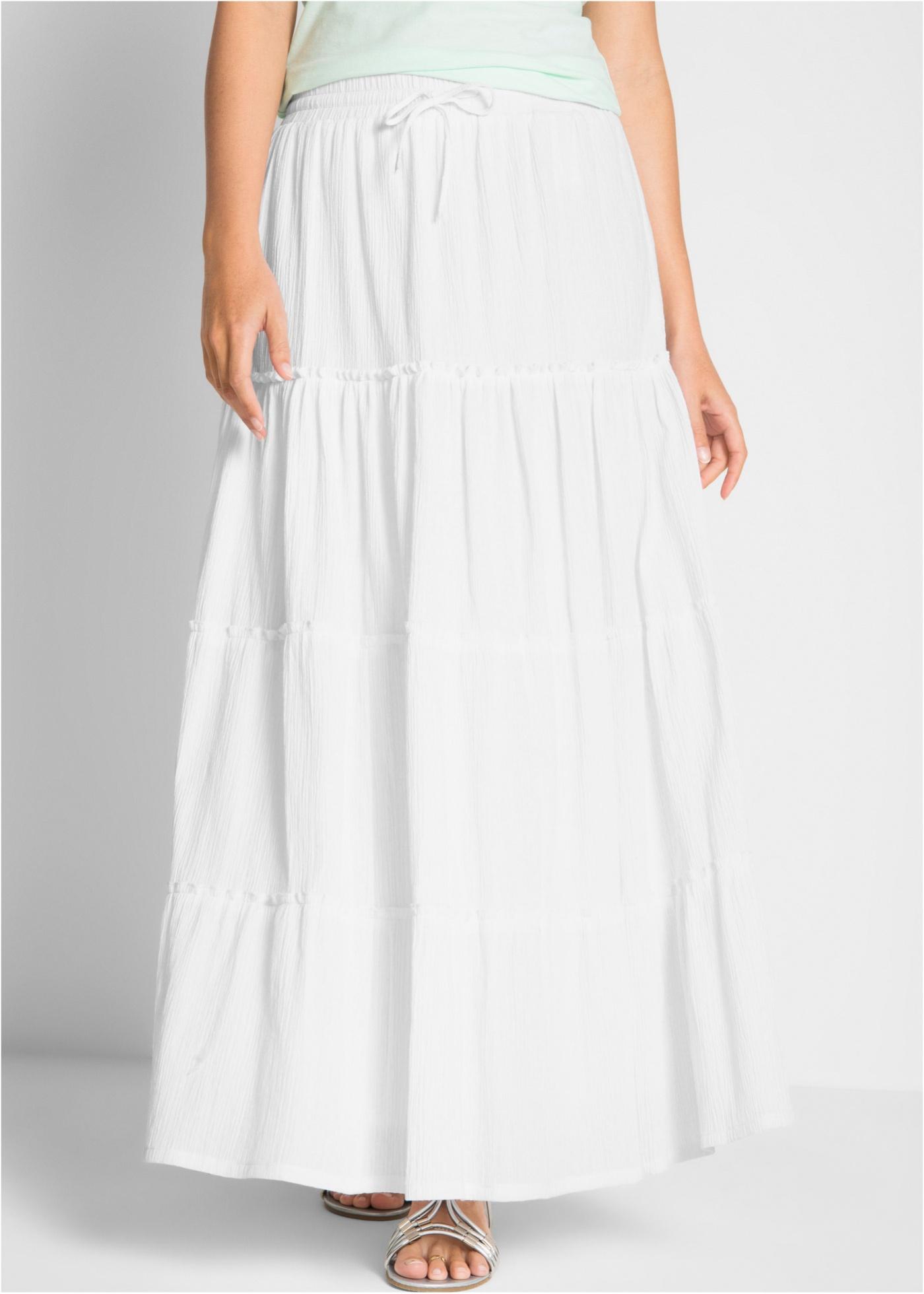 Dlouhá bavlněná sukně z krepu - Bílá