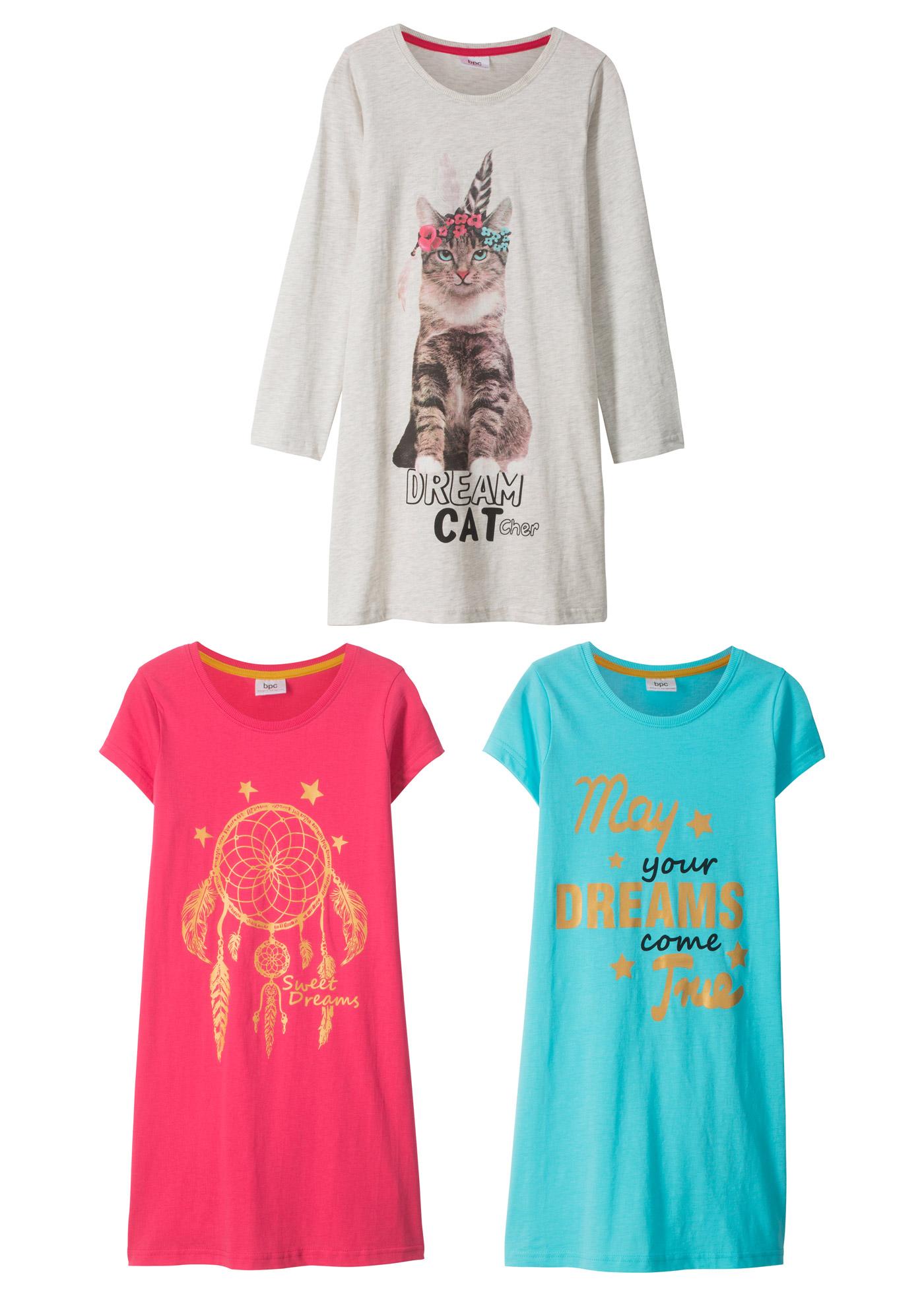Dívčí noční košile (3 ks) - Modrá