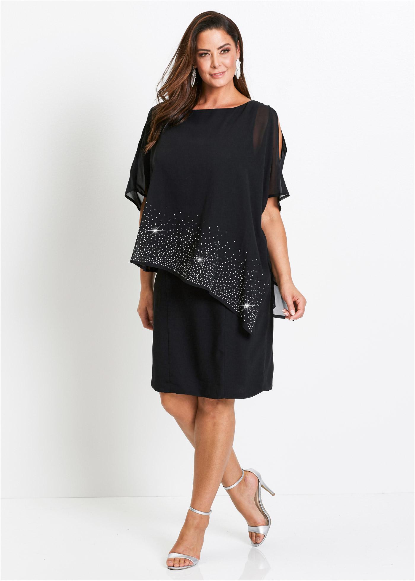Pouzdrové šaty s lesklými kamínky - Černá