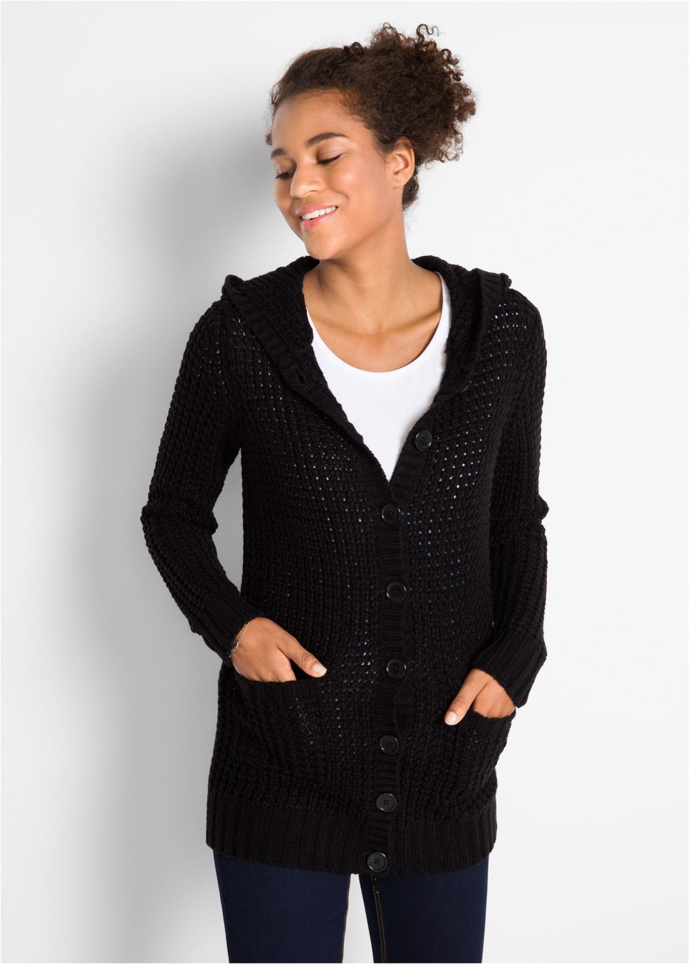 Pletený kabátek s kapucí - Černá