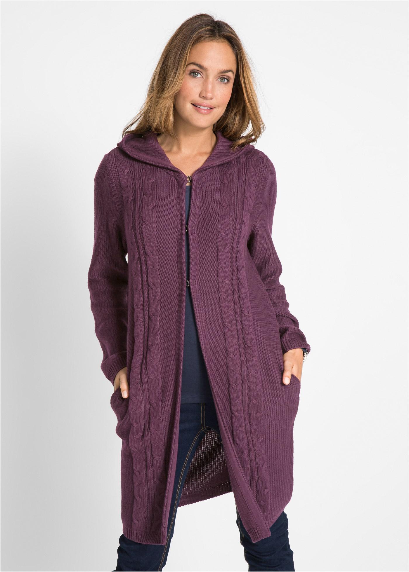 Dlouhý pletený kabátek s kapucí - Fialová
