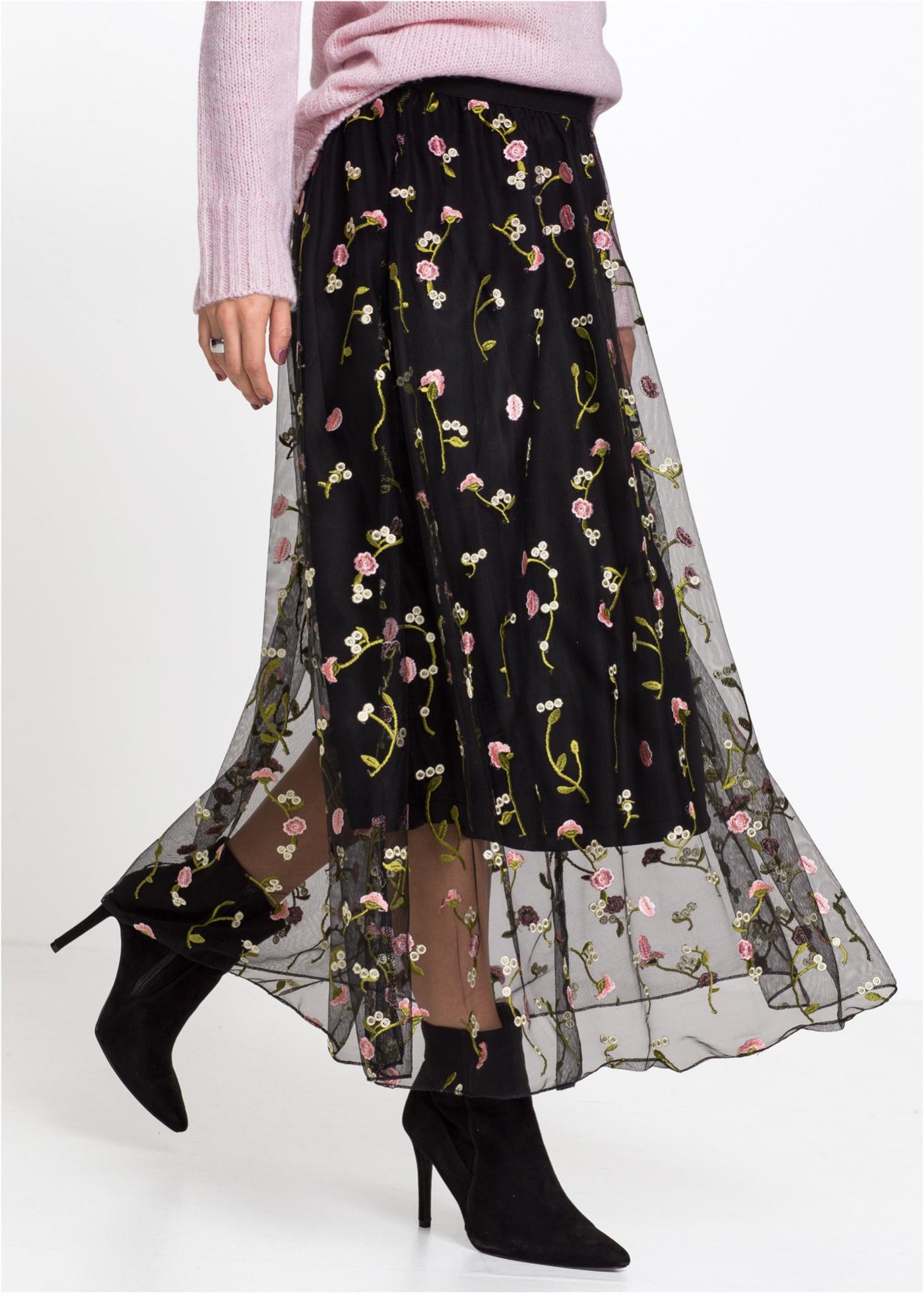 Tylová sukně s květinovou výšivkou - Černá