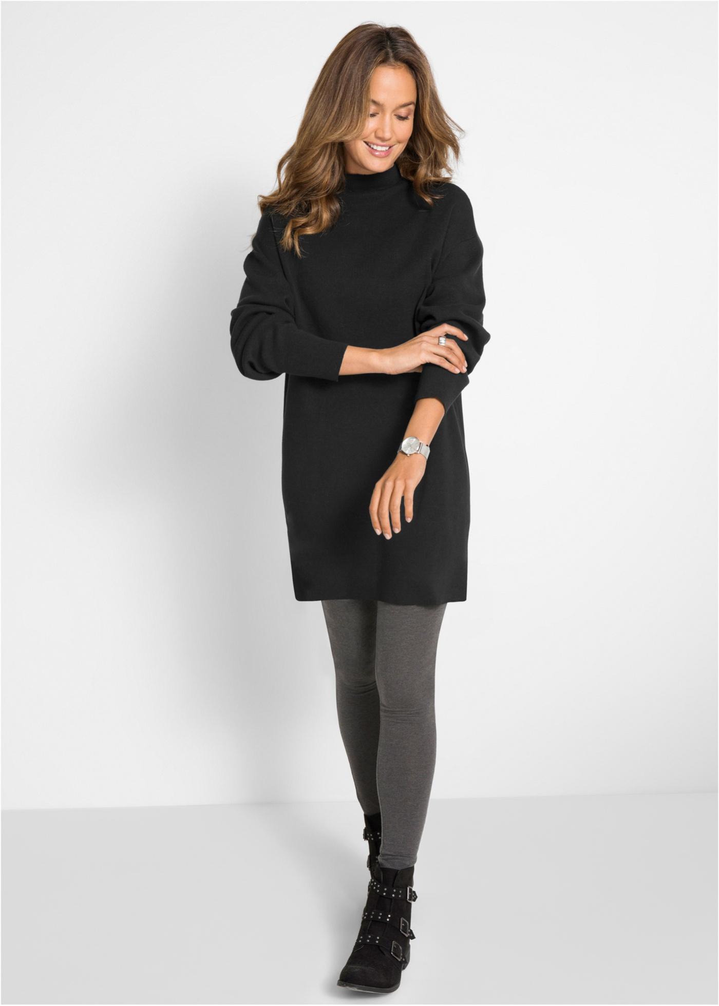 Pletené šaty se stojáčkem - Černá
